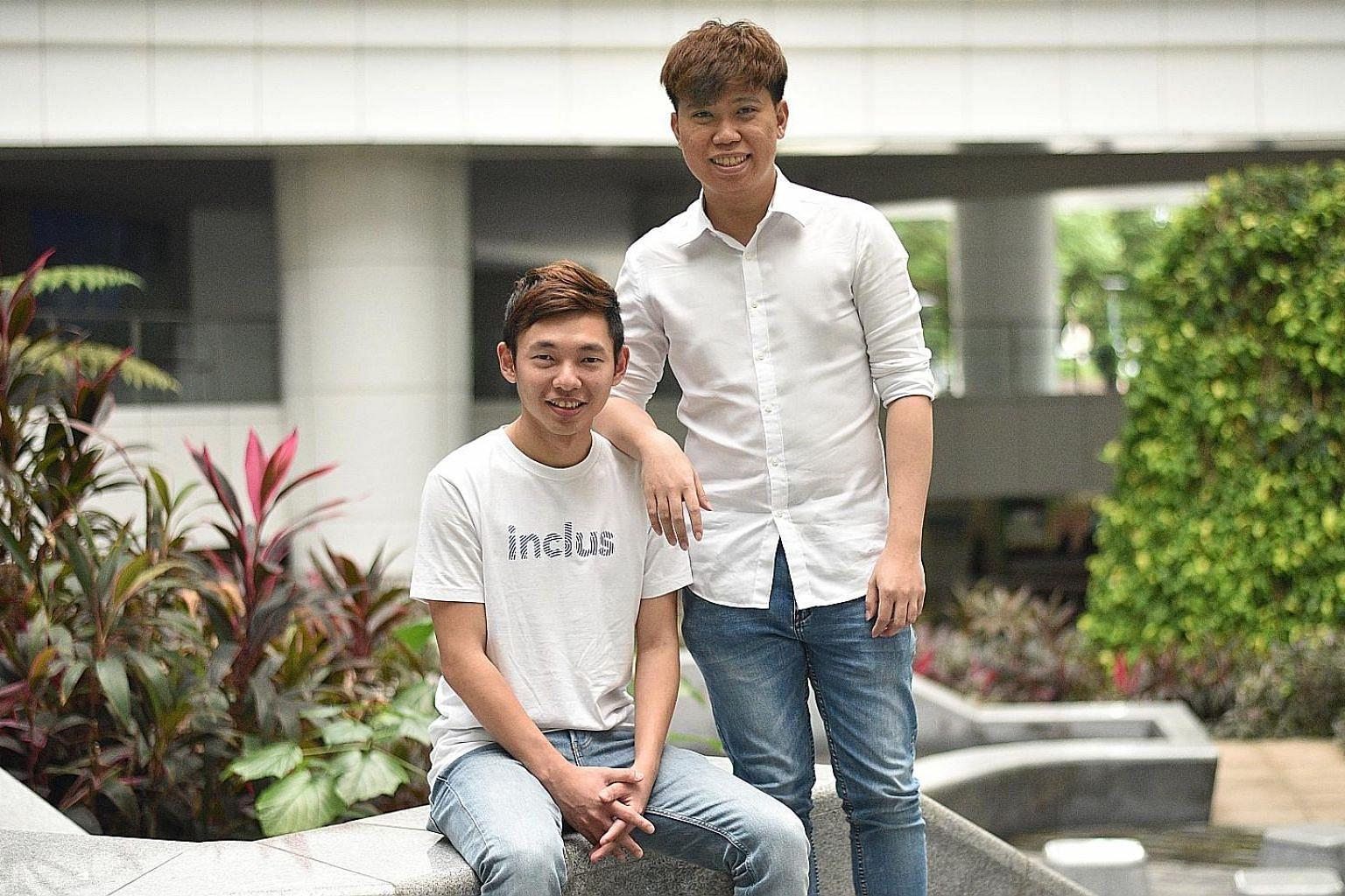 Institute of Technical Education graduates Anders Tan (left), co-founder of Inclus, and Aow Jia Rong, chief executive and co-founder of Ezsofe. Both entrepreneurs are part of a diploma programme that sees companies working with the institute on work-