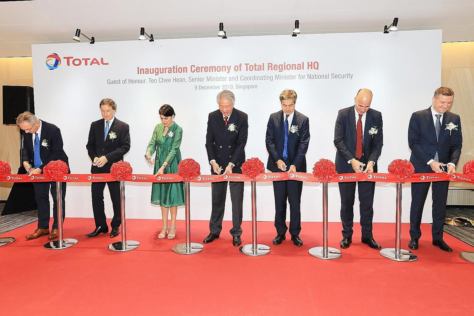 At the inauguration ceremony of French oil and gas firm Total's new office at Frasers Tower yesterday were (from left) Total Gas & Power Asia general manager Nicolas Poulteney; Total Exploration & Production Asia Pacific senior vice-president Javier