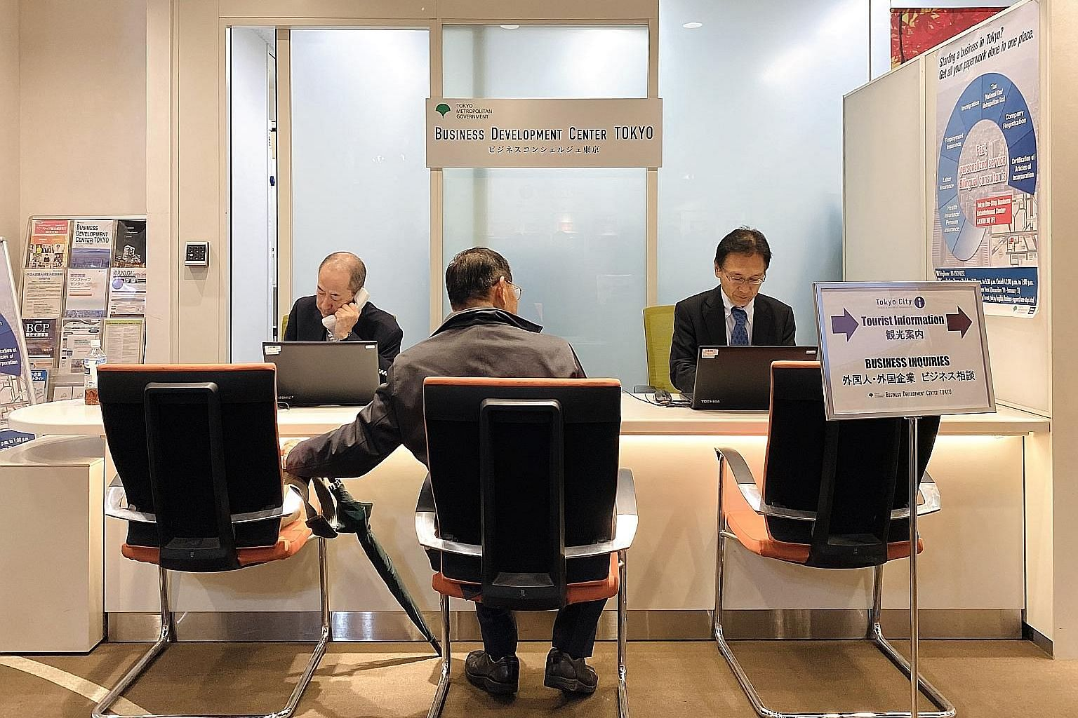 The Business Development Centre Tokyo helps financial and fintech companies that want to enter Tokyo, providing help like advice on available subsidies. Over the past two years or so, the service has helped more than 100 firms. ST PHOTO: SEOW BEI YI
