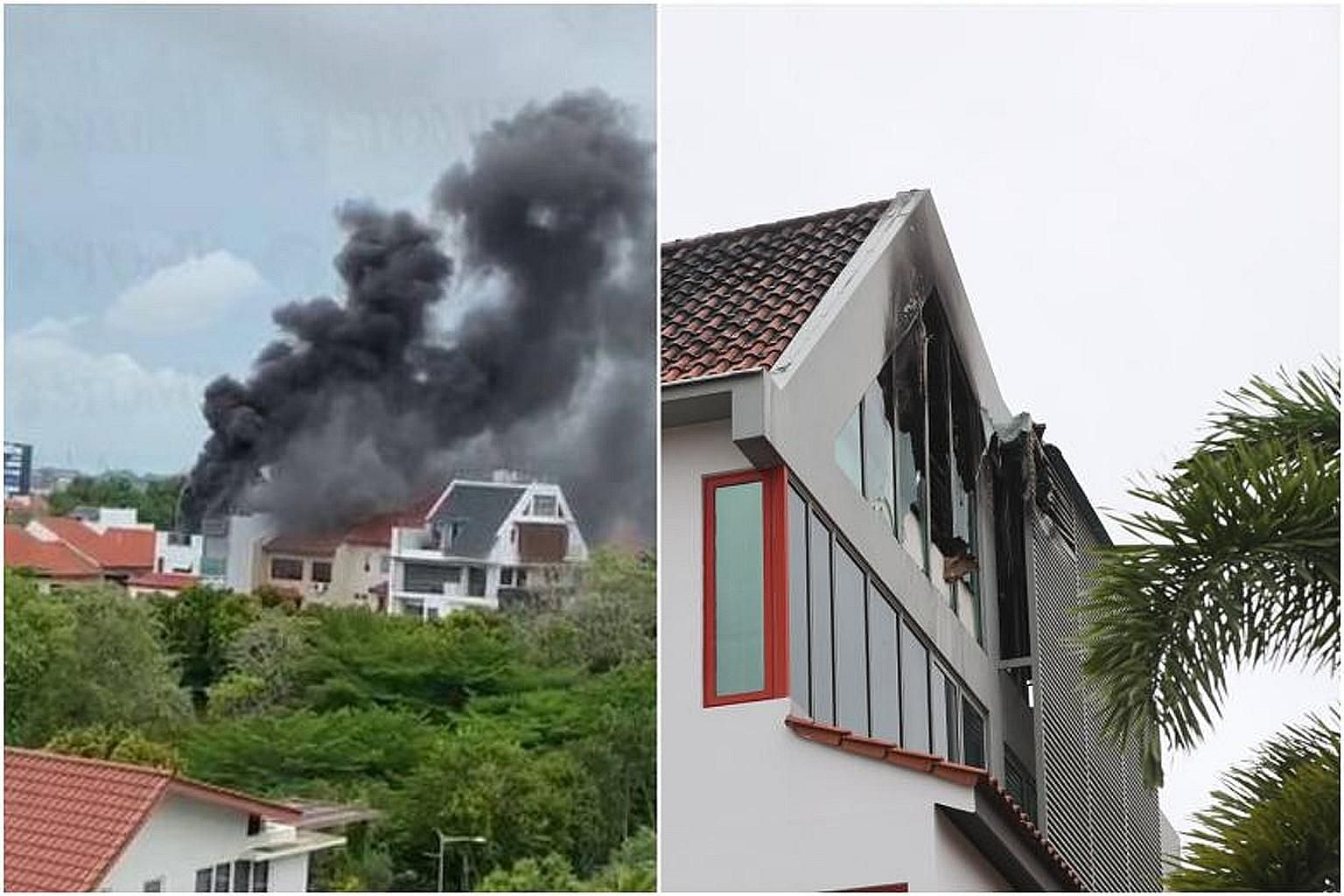 Black fumes billowing (far left) from the three-storey house at 7 Peakville Terrace in Bedok on Sunday. Firefighters used a water jet to put out the fire, involving items on the top floor (left). PHOTOS: LIANHE WANBAO, LIANHE ZAOBAO
