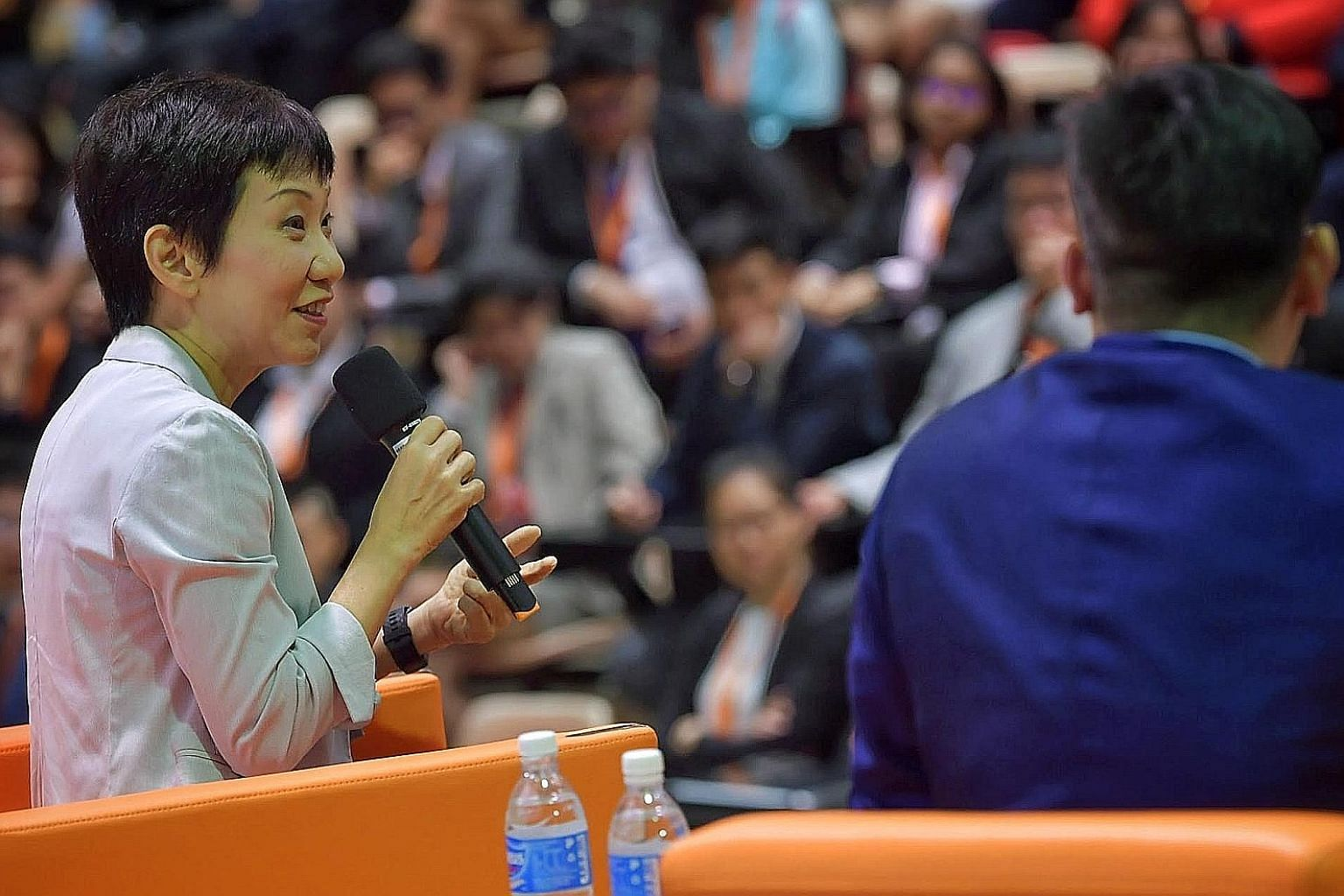 Minister for Culture, Community and Youth Grace Fu speaking to students at a dialogue on race relations during the OnePeople.sg Model United Nations opening ceremony at Yishun Innova Junior College yesterday.