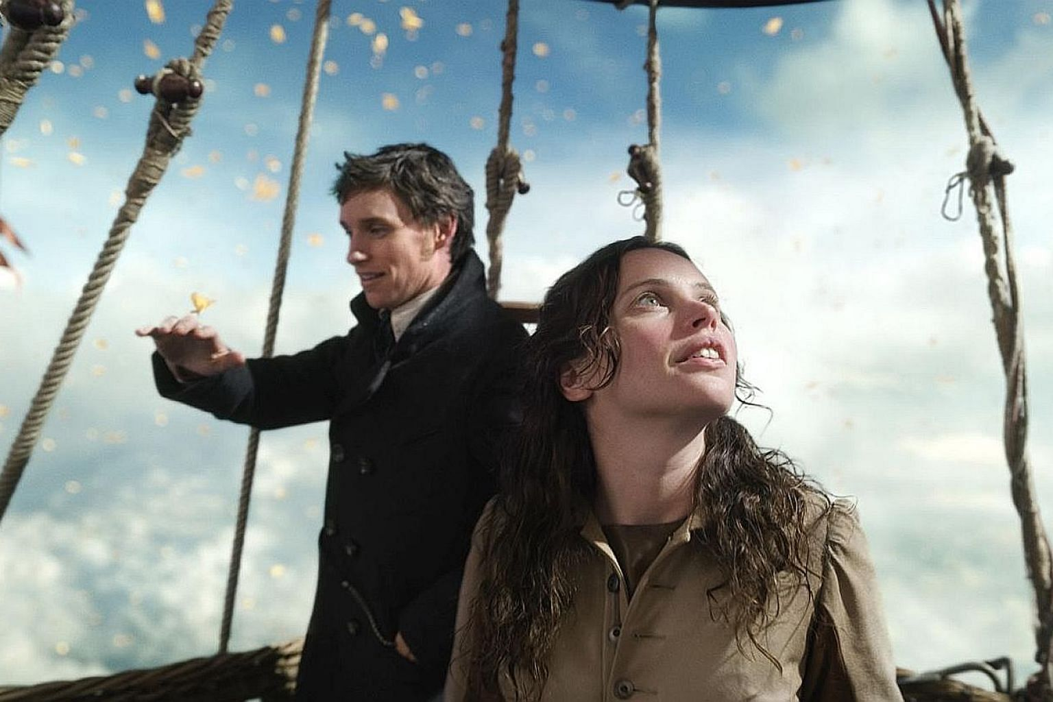 The Aeronauts stars Eddie Redmayne as scientist James Glaisher and Felicity Jones (both above) as pilot Amelia Wren.