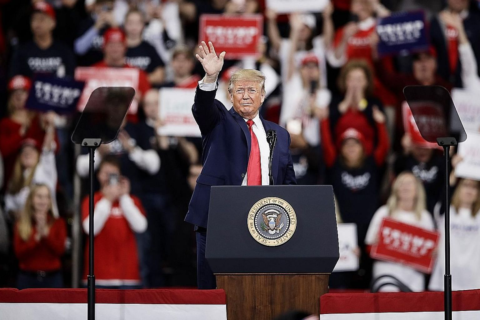 """US President Donald Trump at a campaign rally in Hershey, Pennsylvania, on Tuesday. He was in counter-attack mode, heaping derision on the """"partisan lunatics"""" of the Democratic Party and their """"stupid impeachment"""", and accusing the Federal Bureau of"""