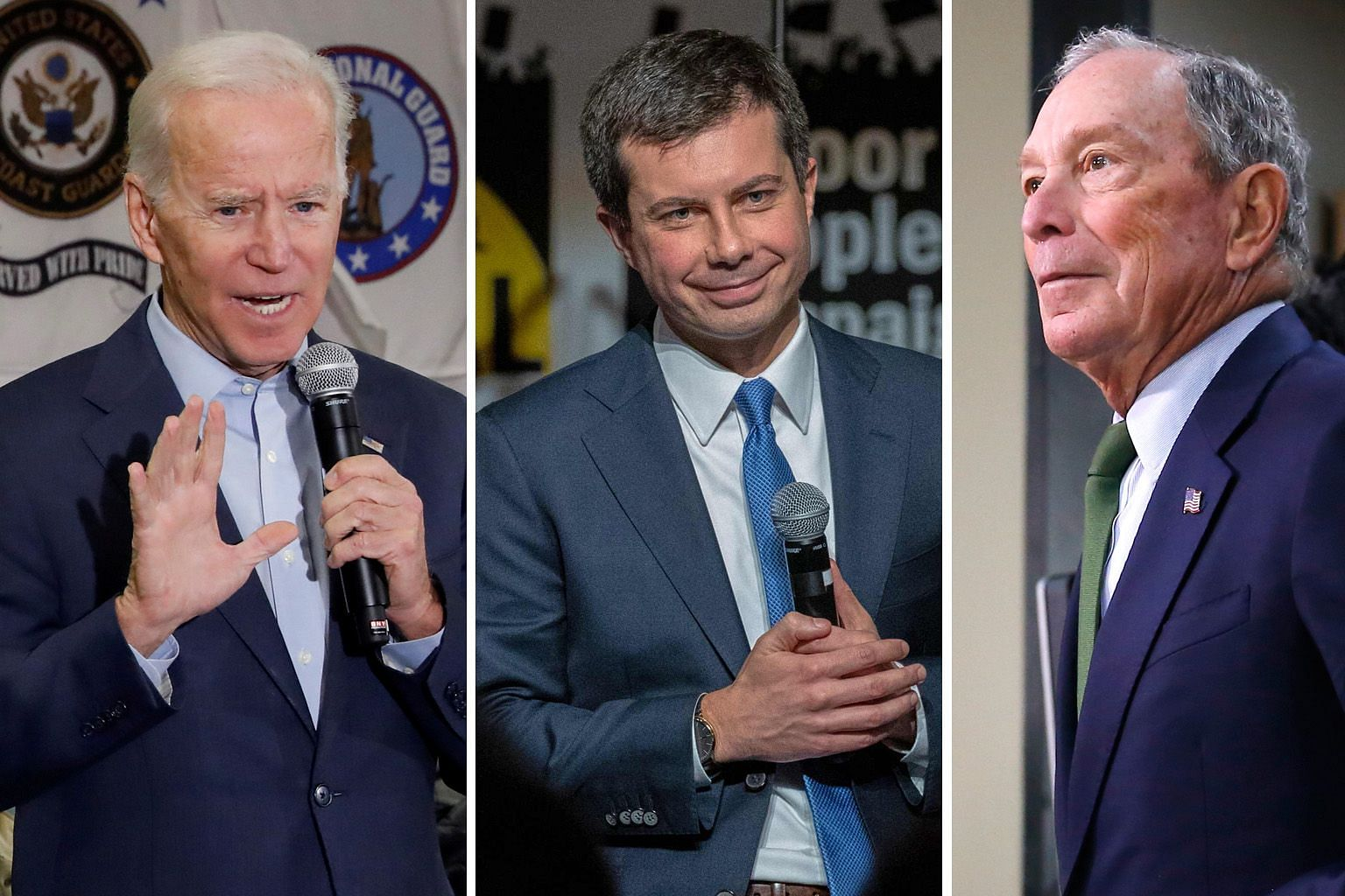Based purely on electability, the three candidates with the clearest path to the Democratic nomination for the presidential elections in November next year are (from left) former US vice-president Joe Biden, Indiana mayor Pete Buttigieg and former Ne