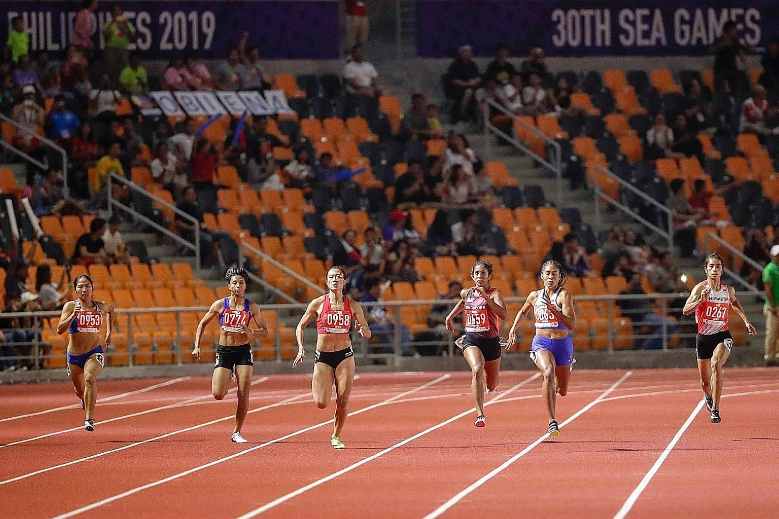 Shanti Pereira (third from right) finishing third in the SEA Games 200m final, earning one of Singapore's three bronzes in athletics. The result was a far cry from the two golds, two silvers and four bronzes in 2017.