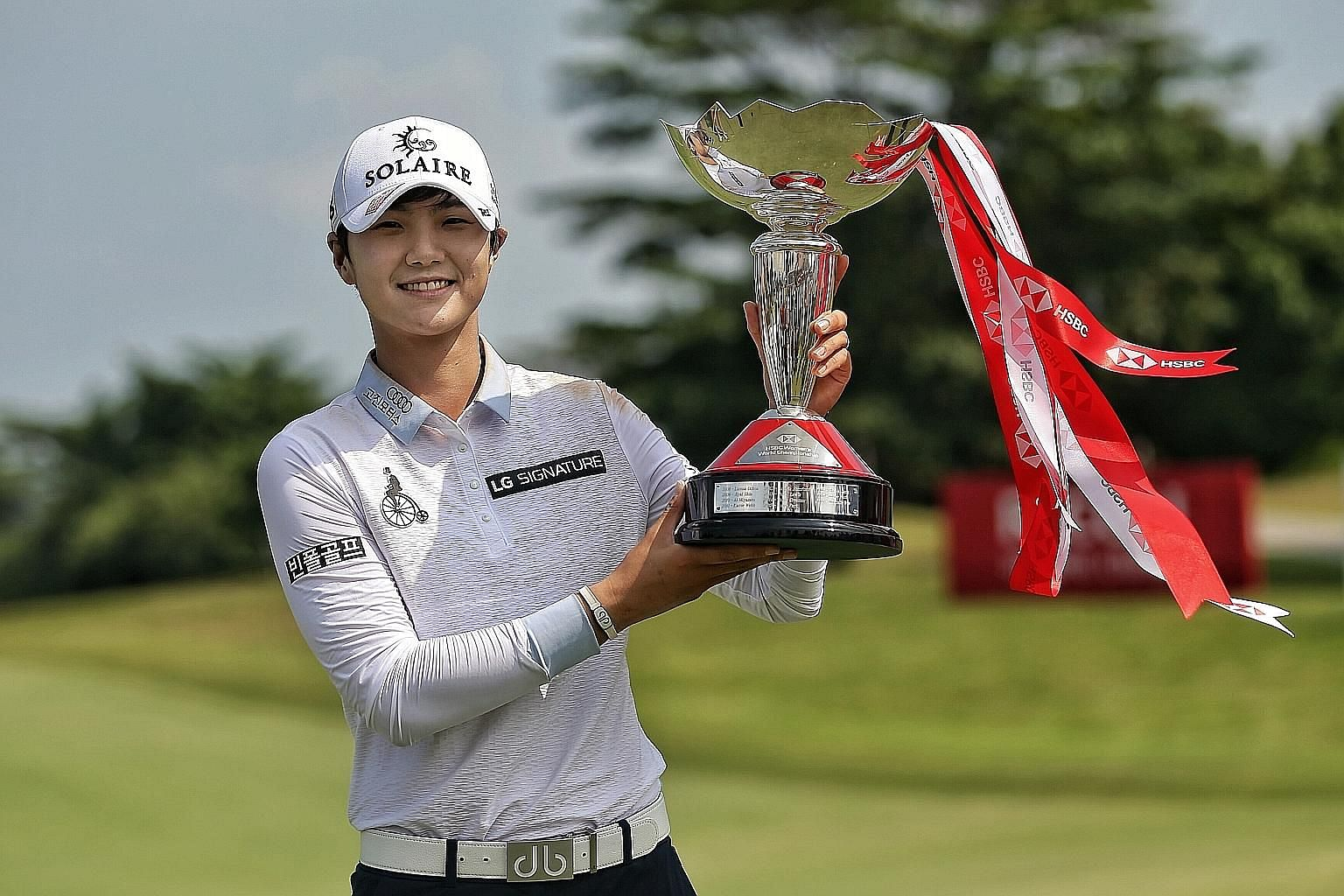 South Korean Park Sung-hyun with the HSBC Women's World Championship trophy at the Sentosa Golf Club in March. ST FILE PHOTO