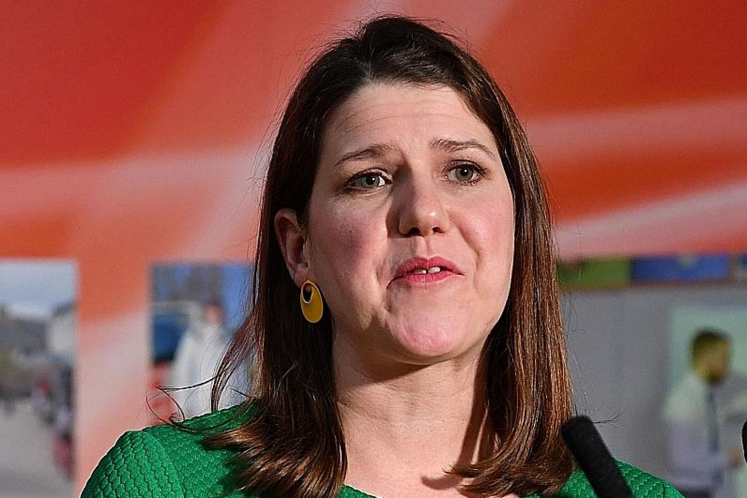 Liberal Democrat leader Jo Swinson speaking after losing her seat in East Dunbartonshire, at the counting centre in Bishopbriggs, north of Glasgow, yesterday. PHOTO: AGENCE FRANCE-PRESSE