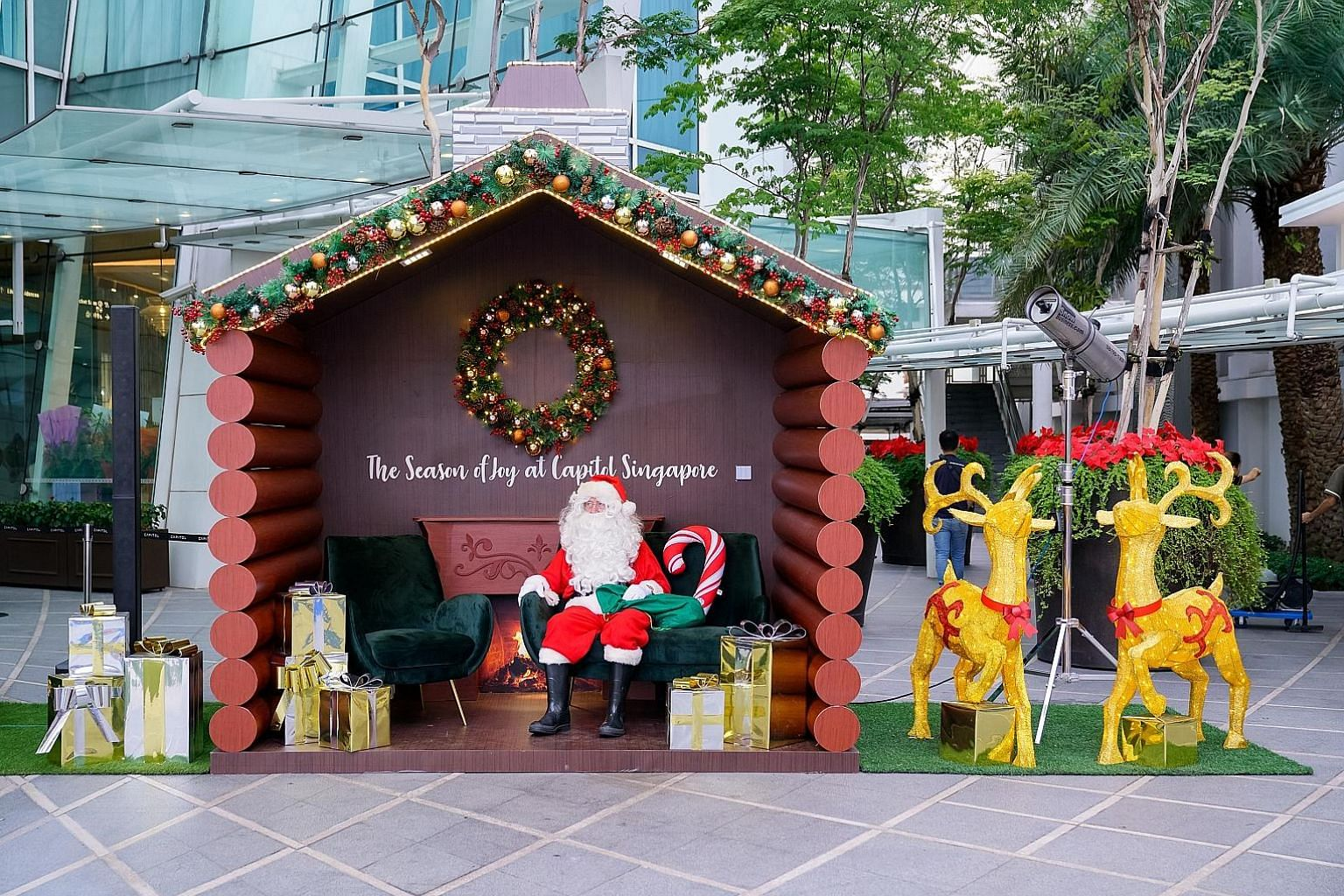 Above: Santa is waiting to greet you and your loved ones in the Santa log house at Capitol Kempinski. Right: The Capitol Kempinski Skating Rink is open to all for a small fee. PHOTOS: PERENNIAL REAL ESTATE HOLDINGS