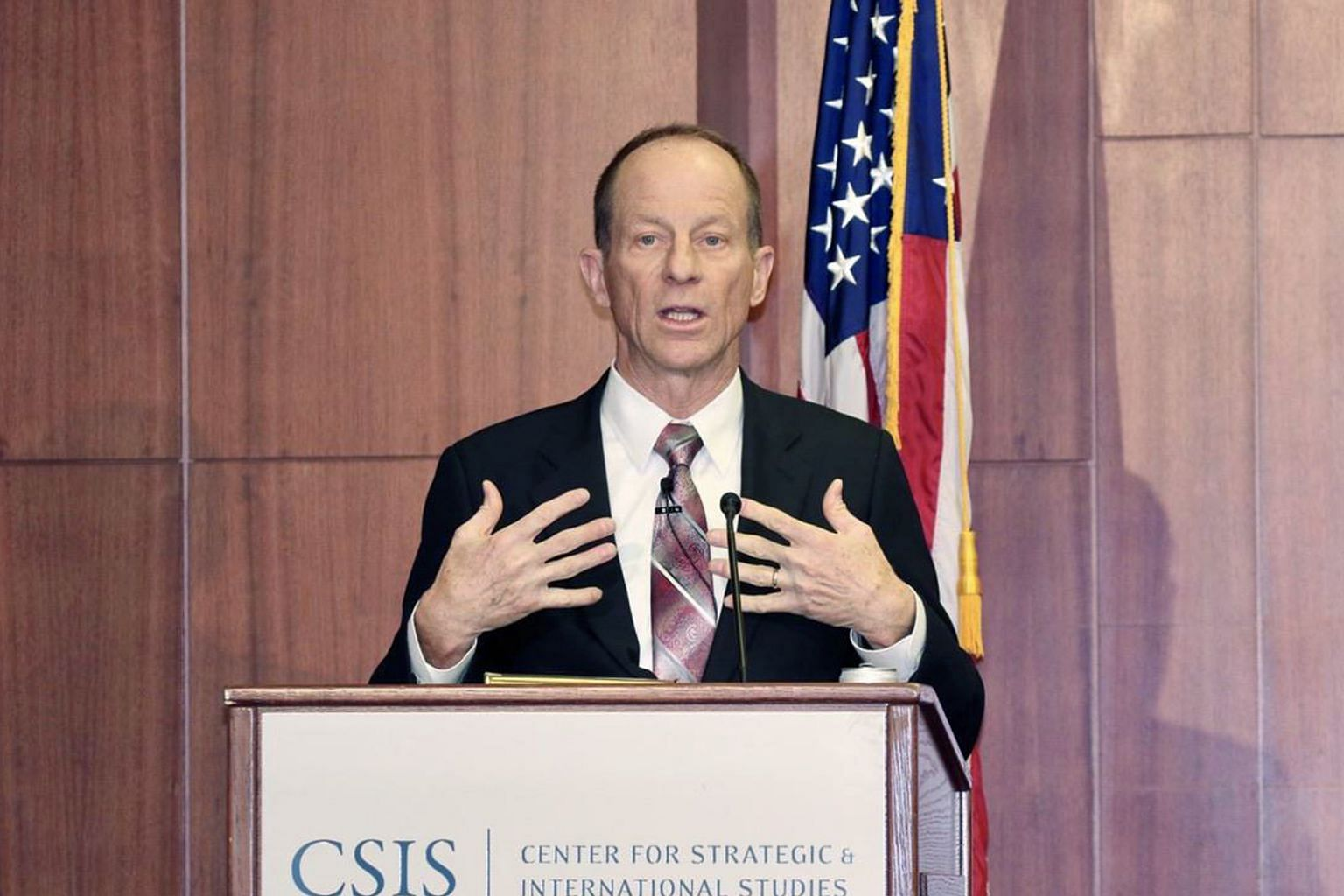United States Assistant Secretary of State for East Asian and Pacific Affairs David Stilwell speaking at the Centre for Strategic and International Studies in Washington on Thursday. Observers speculated that the speech, as a reminder of how the US has he