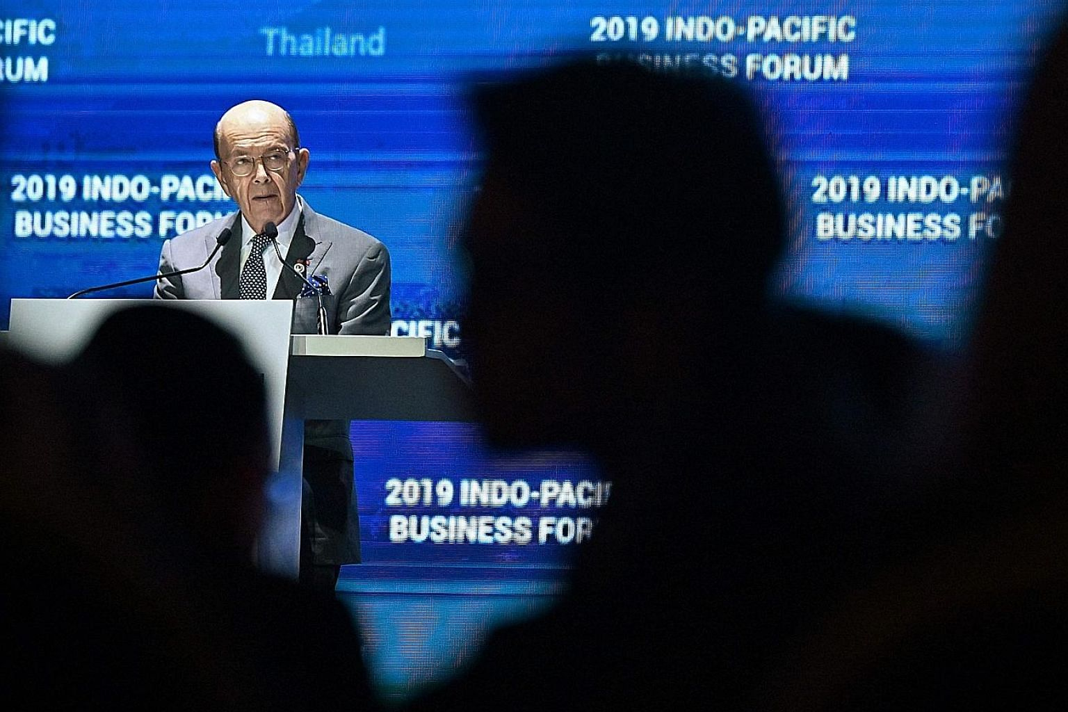 US Secretary of Commerce Wilbur Ross at the Indo-Pacific Business Forum in Bangkok on Nov 4. He has cited many statistics to show that the United States is serious about cooperation with countries in the Indo-Pacific region, which includes India and