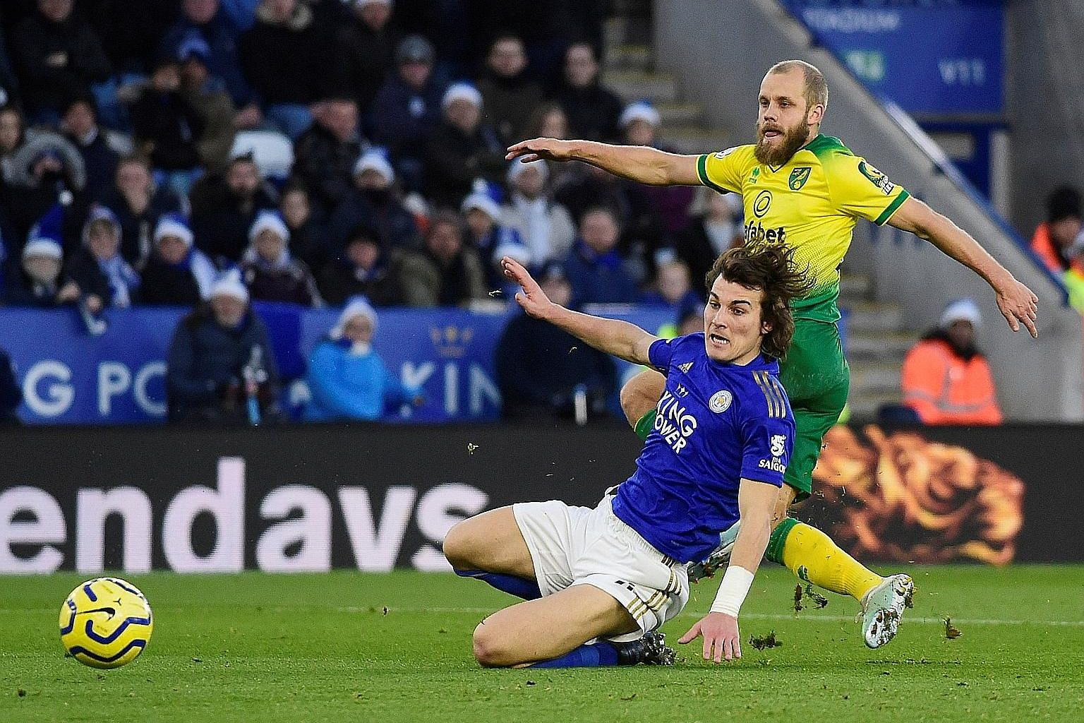 Striker Teemu Pukki putting Norwich ahead against Leicester in their Premier League match at the King Power Stadium on Saturday. The Finland international played till the end of the 1-1 draw despite a broken toe.