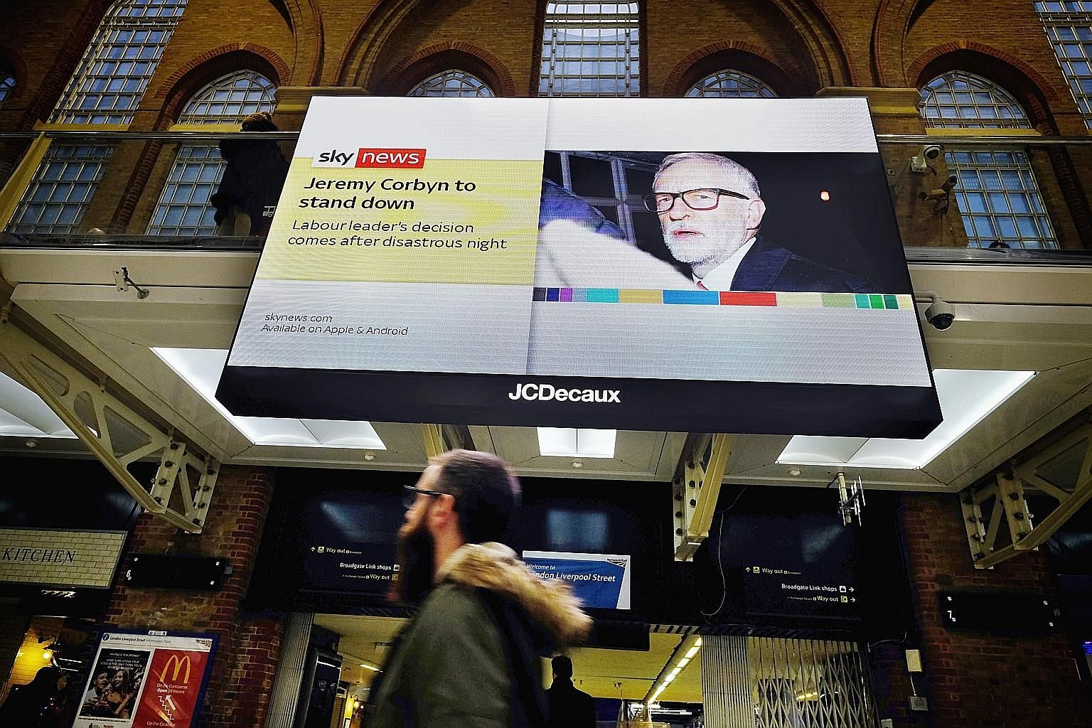 A broadcast of Labour leader Jeremy Corbyn's resignation in the wake of his party's loss in the British election last Friday. The polls provided many examples of how social media has further hollowed out what were already tired practices of political