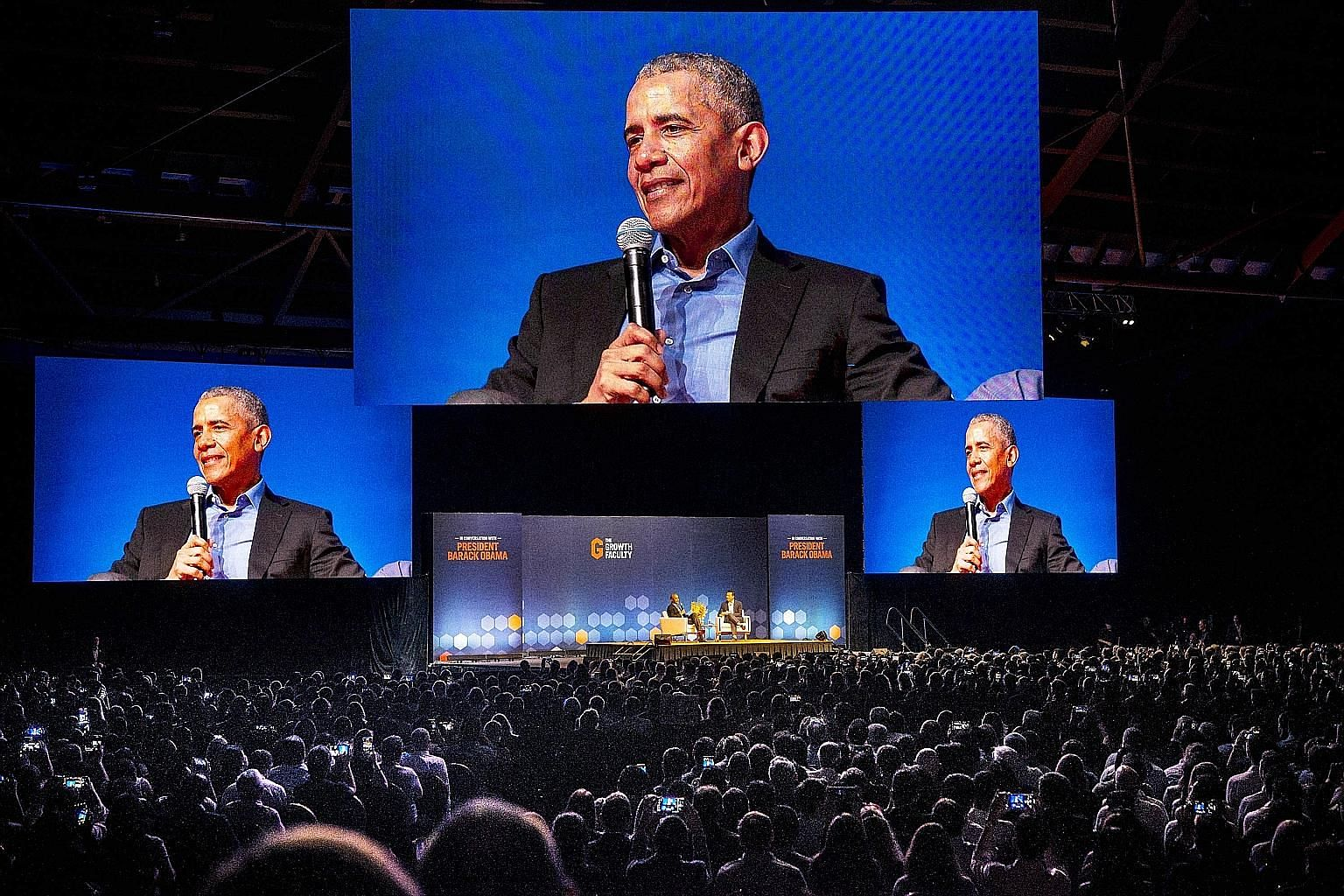 Former US president Barack Obama called on both leaders and their followers to embrace, not shun, the complexity of an evermore interconnected world during a talk in a packed hall at the Singapore Expo yesterday, the last day of his four-day trip to