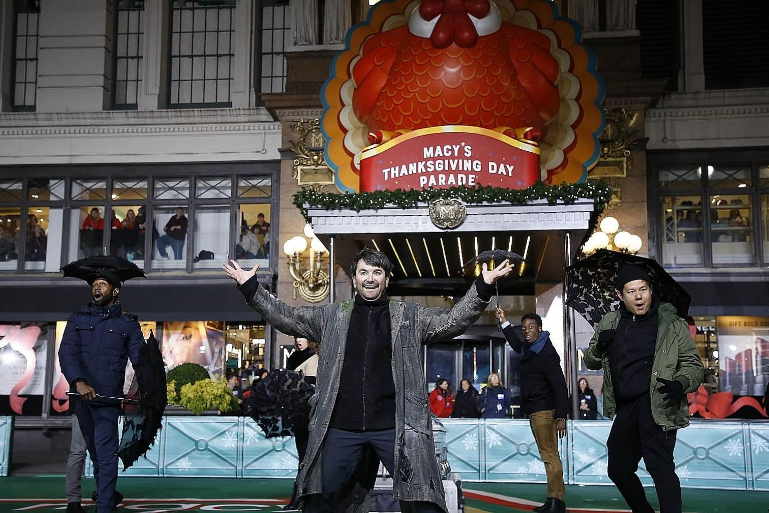 The cast of Beetlejuice at the 93rd Annual Macy's Thanksgiving Day Parade rehearsals at Macy's Herald Square in New York City last month.