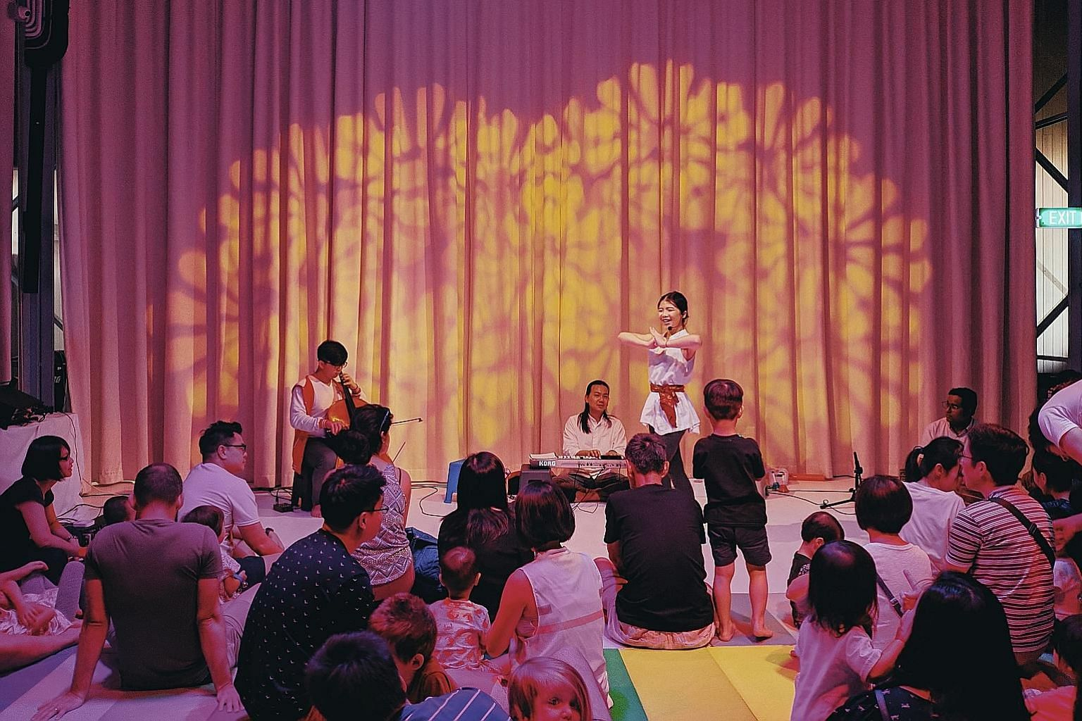 Parents and children taking part in an intimate play-jam session organised by the Little Creatures arts initiative at The Artground children's arts centre earlier this year.