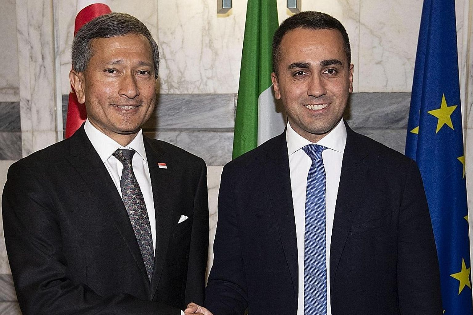 Foreign Minister Vivian Balakrishnan being welcomed by Italian Foreign Minister Luigi Di Maio for a meeting at Farnesina Palace in Rome on Thursday. Dr Balakrishnan also met Pope Francis during his official visit to Italy and Vatican City. PHOTO: EPA