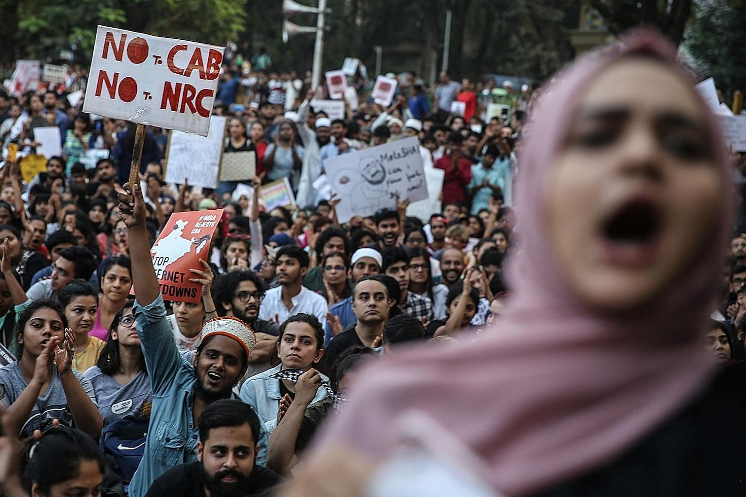 Demonstrators at a protest last Thursday in Mumbai against India's newly passed Citizenship Amendment Act and National Register of Citizens. Several personalities, including Farhan Akhtar, Swara Bhasker, Alankrita Shrivastava and Huma S. Qureshi, showed u