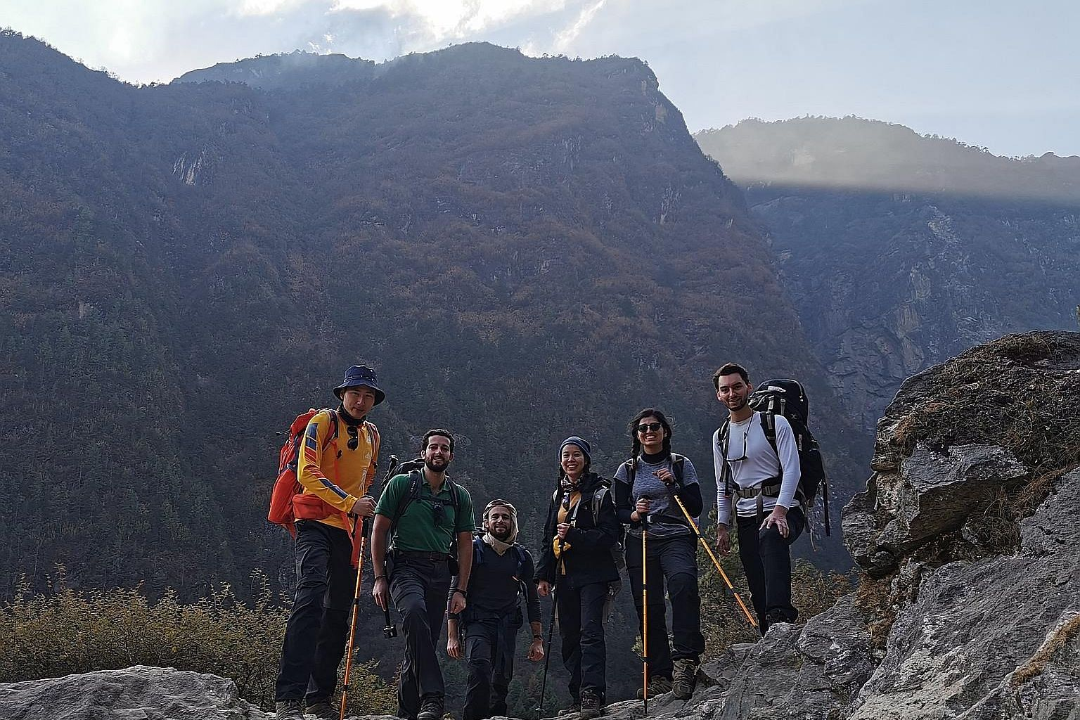 (From left) Mr Mcrid Wang, Mr Enrico Viora, Mr Alhasan Alkaff, Ms Napath Lertpinyopast, Ms Soyena Dhakal and Mr Xavier Janssen on day two of their trek last month to the Mount Everest base camp.