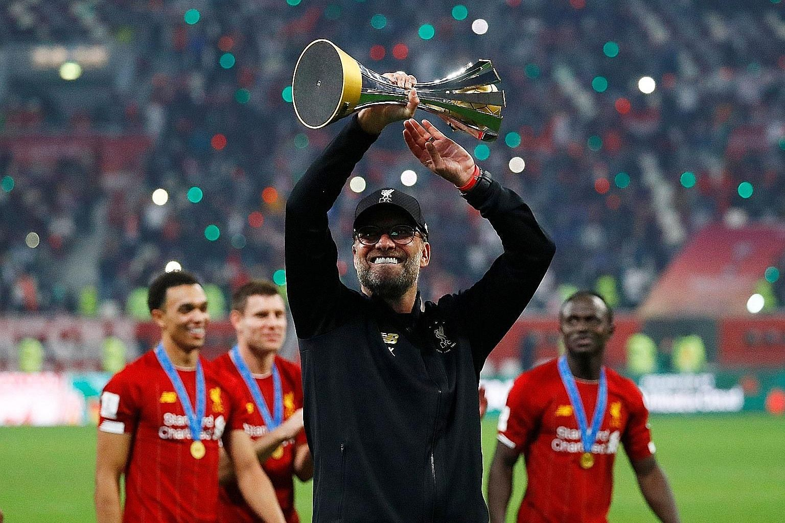 Liverpool boss Jurgen Klopp celebrating after winning the Club World Cup on Saturday. His team have a 10-point lead over Leicester in the Premier League ahead of their Boxing Day clash. PHOTO: REUTERS