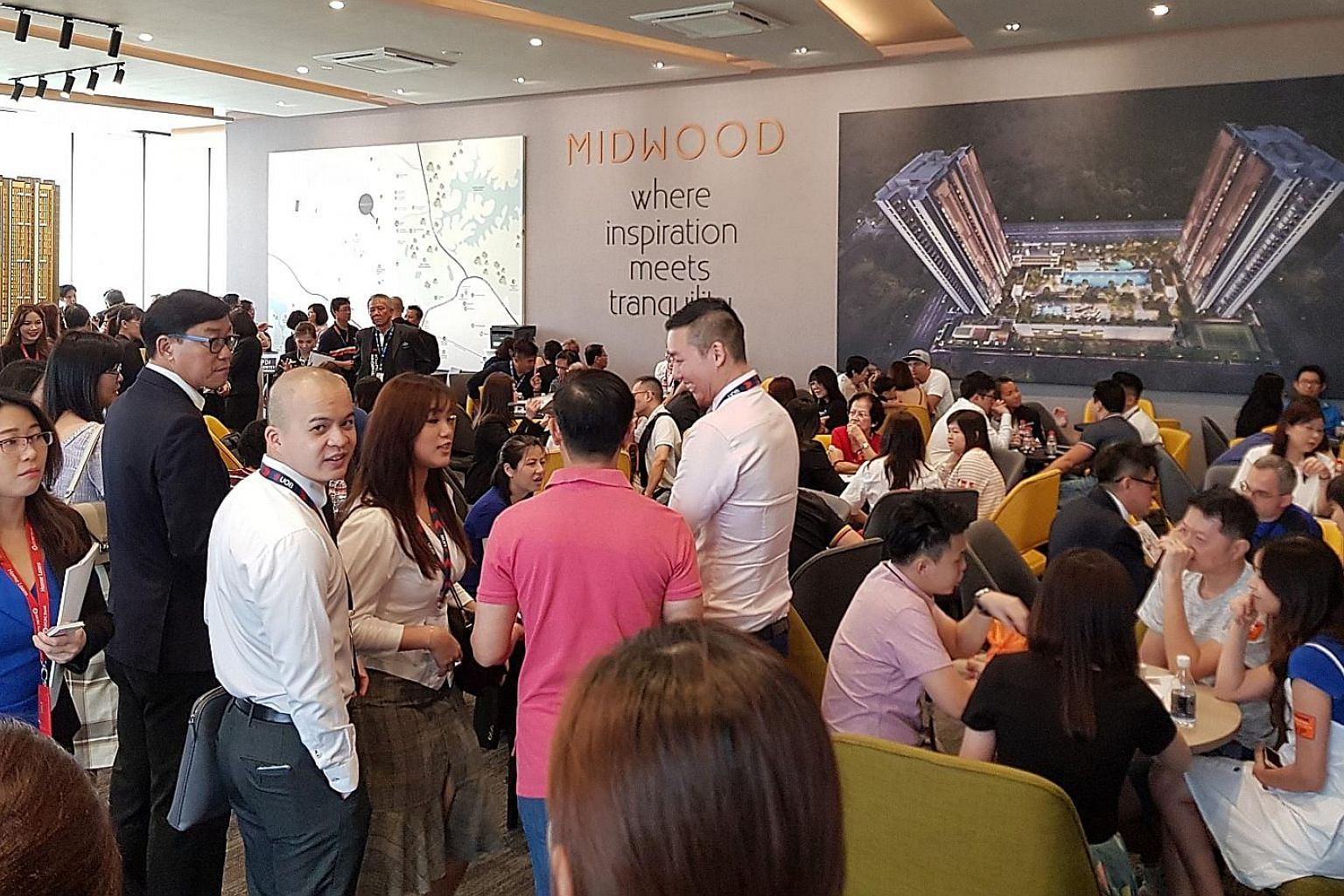 Prospective buyers at the launch of Midwood condominium in October. The Urban Redevelopment Authority will release private home prices data for the fourth quarter on Thursday.