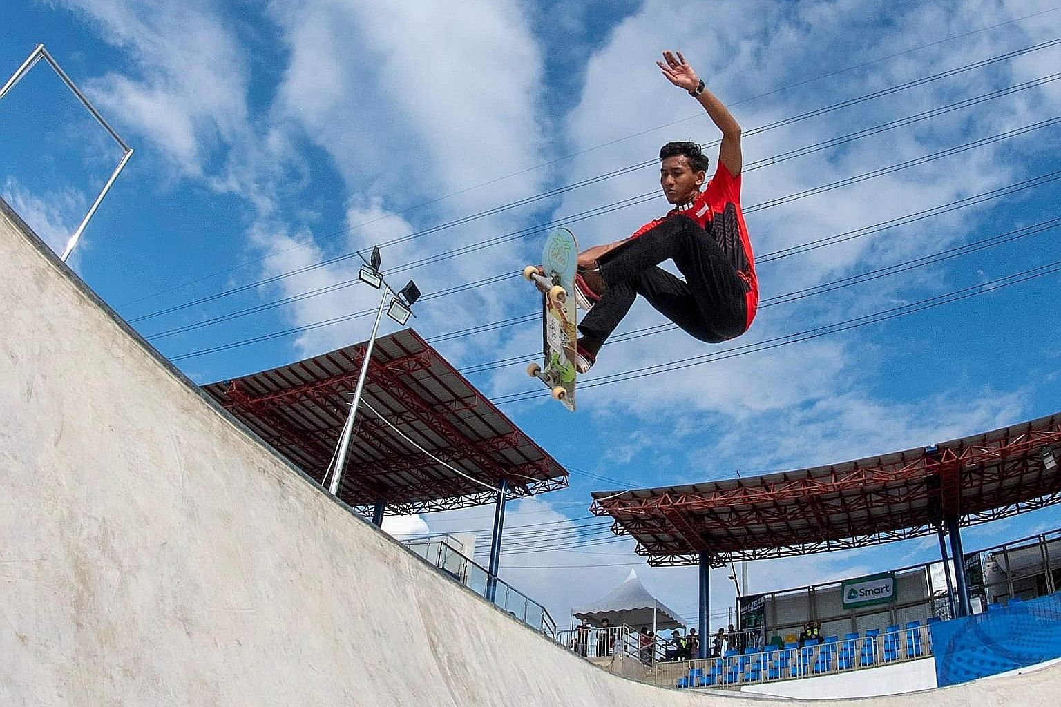 Singapore skateboarder Johan Badiuzzaman Johar training at the SEA Games venue in Tagaytay City, Philippines, last month. He finished ninth in the men's park final. PHOTO: SPORT SINGAPORE