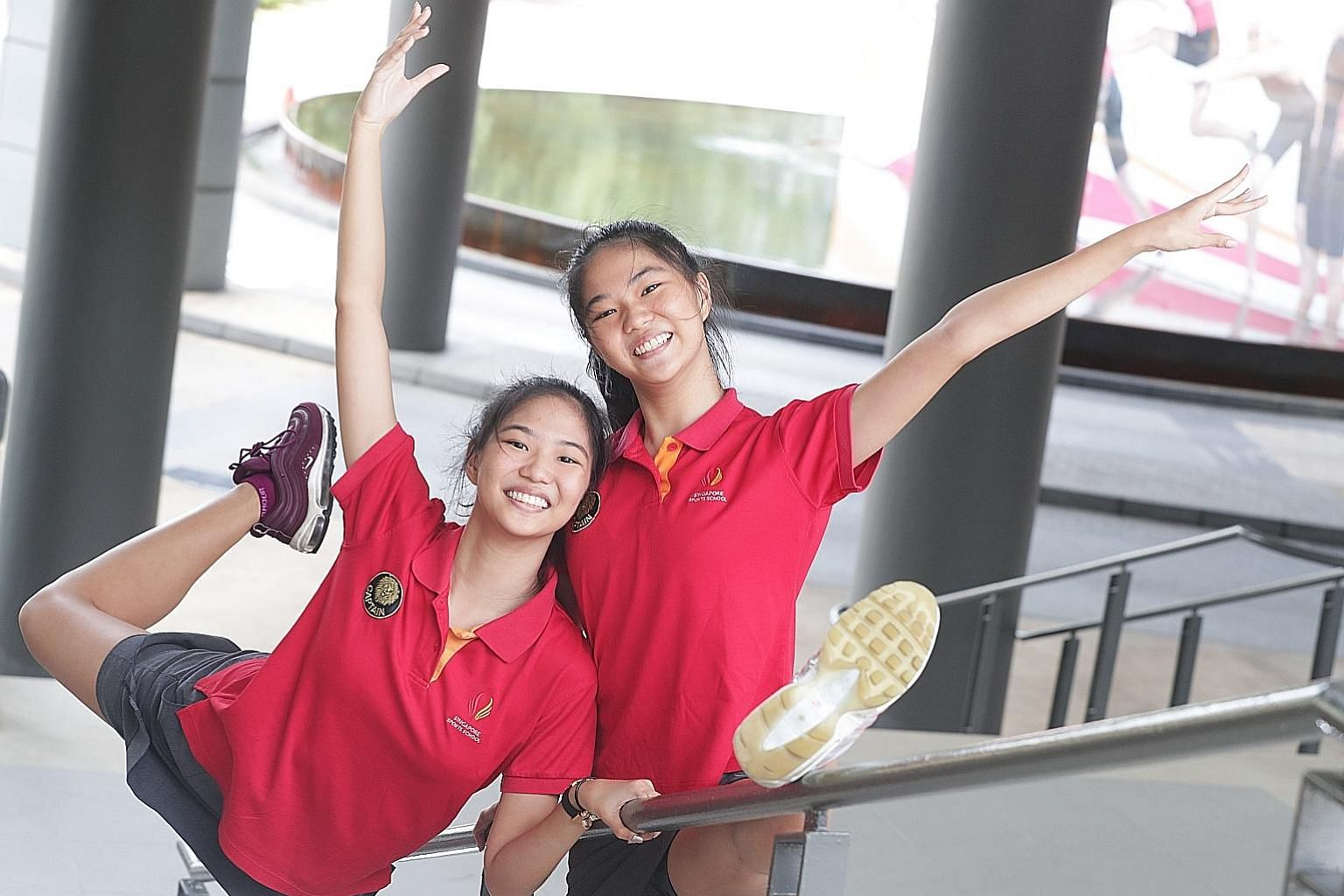(From left) Phebe Meredith Lau Zhi Ling and Michele Petrova Lau Xin Ling, both 18. Last year, besides attending school, the two had to juggle training with their Aesthetic Group Gymnastics team, as well as coaching the new generation of rhythmic gymnasts.