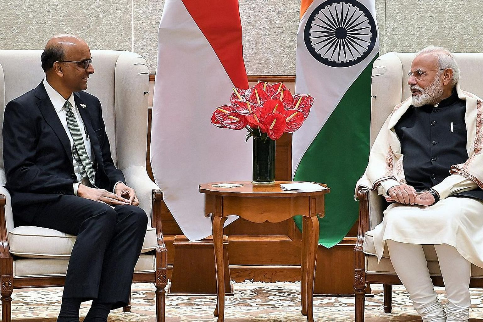 Senior Minister and Coordinating Minister for Social Policies Tharman Shanmugaratnam called on Indian Prime Minister Narendra Modi in New Delhi yesterday. Mr Tharman said they had a good discussion on India's economic and social strategies to ensure