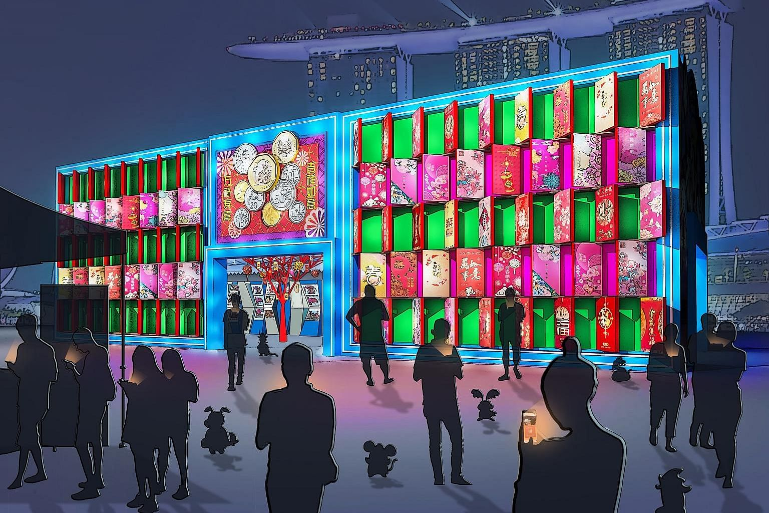 An artist's impressions of #HuntYourZodiac, an augmented reality game that visitors can play at River Hongbao 2020 on their mobile devices (above) and a lantern structure (left) made of POSB and DBS red packets.