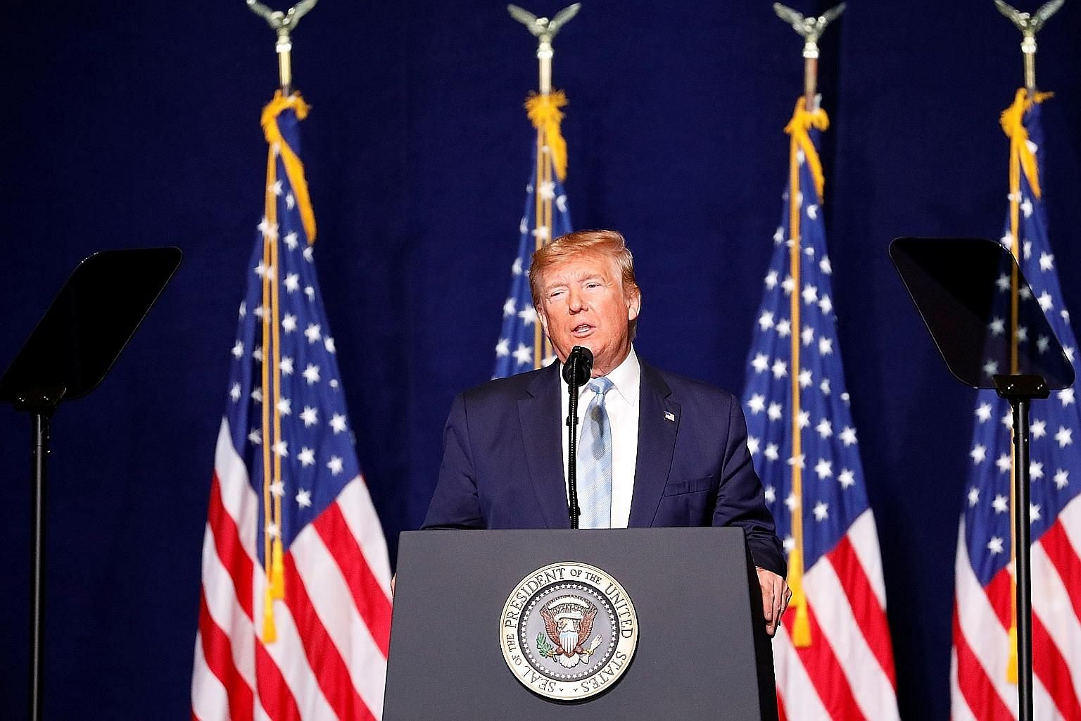 President Donald Trump was more popular among people on the political right, with confidence in his leadership and support for his policies increasing in several countries and among right-wing voters.