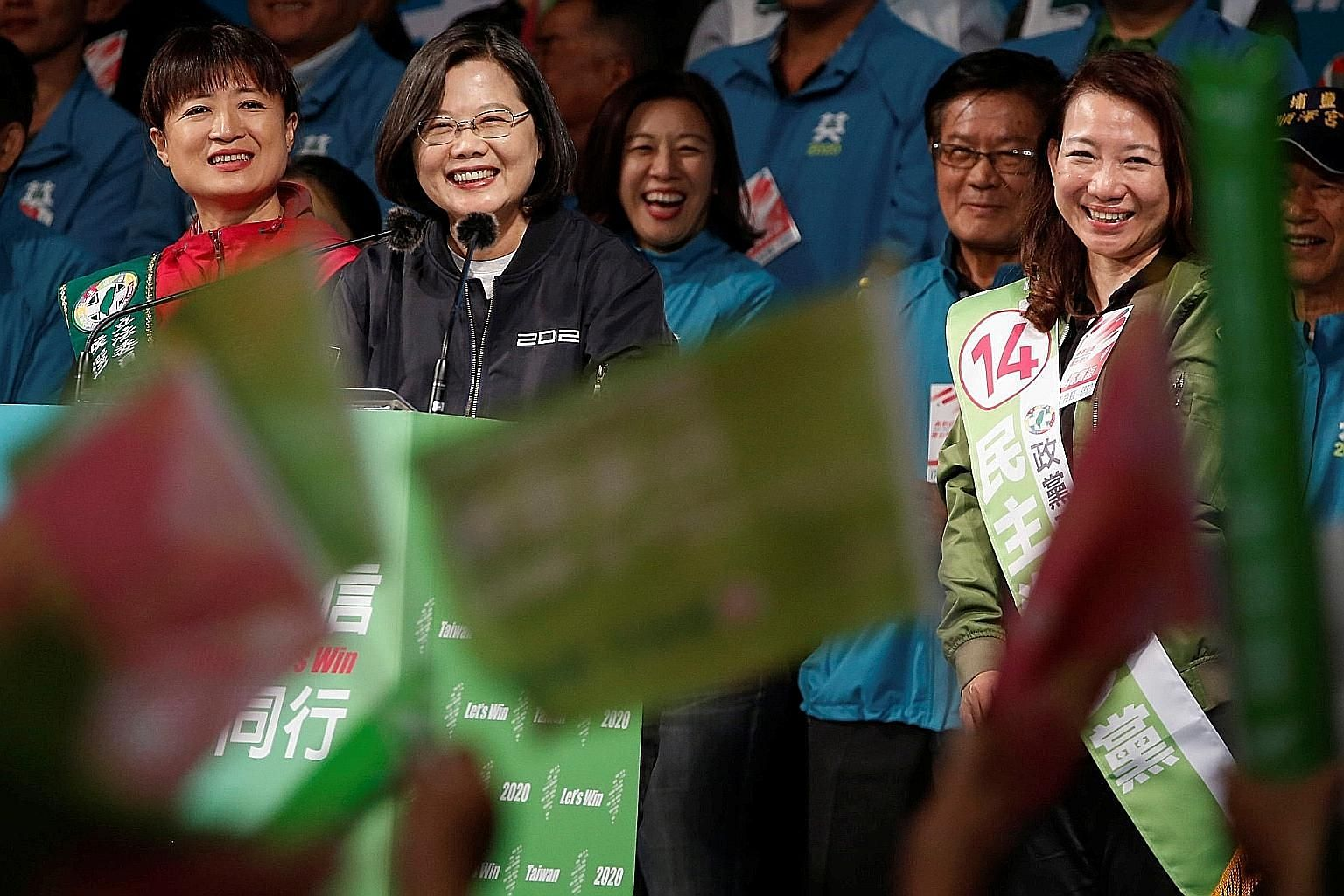 Kuomintang Party candidate Han Kuo-yu greeting supporters during an election campaign event in Keelung on Tuesday. Besides picking their president and vice-president, Taiwanese will also be electing the 113 members of the Legislative Yuan on Saturday