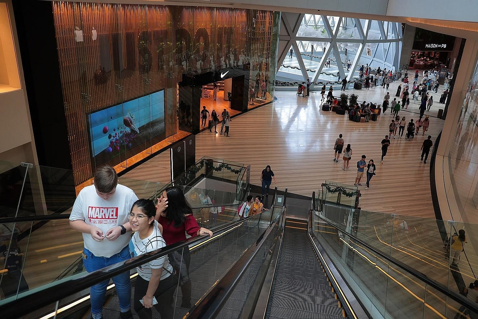 Stores at Jewel Changi Airport (left) that offer unique concepts or are exclusively located at Jewel seem to be doing better than retail chains that have multiple outlets in more accessible areas of Singapore.