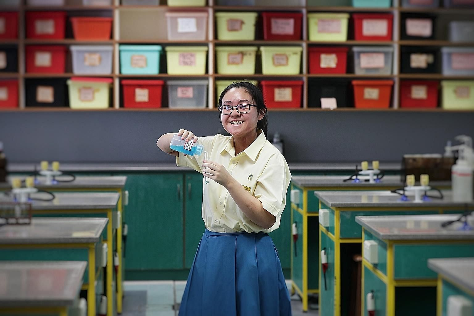 Although she was able to go to school only once a week during her last 1½ years in Crescent Girls' School, Sherry Lim did very well in her O-level exams and says she eventually hopes to become a pharmacist.