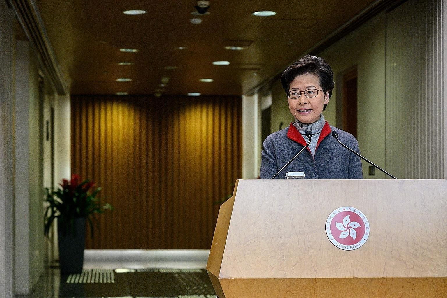Hong Kong's Chief Executive Carrie Lam yesterday said the package of 10 measures is focused on helping the vulnerable and is expected to benefit over a million people. PHOTO: AGENCE FRANCE-PRESSE