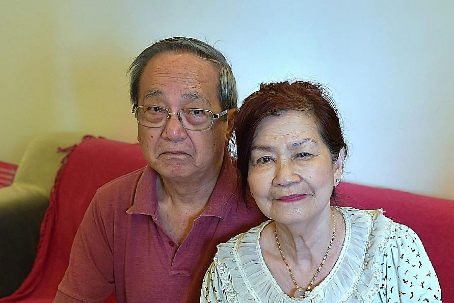 Madam Song Yuen Han, 72, with her husband, Mr Edwin Lee, 73. She had a polyclinic referral but was charged private rates at the National University Hospital due to a miscommunication. Of the $20,674 total for Madam Song's three eye procedures, MediSh