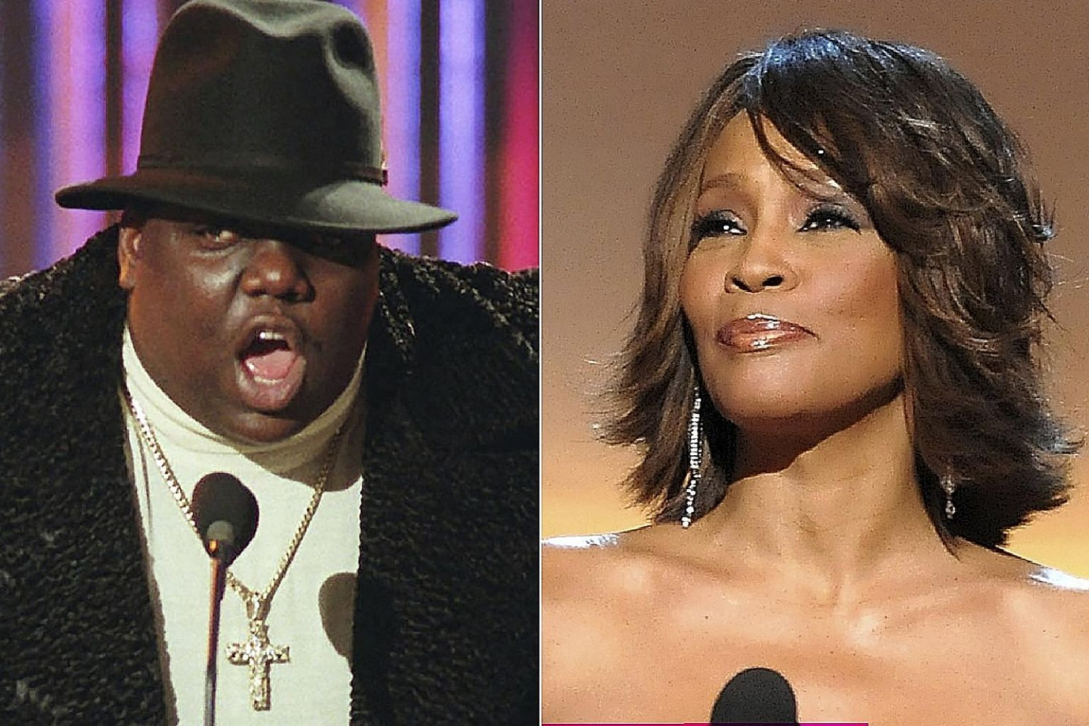 Late legends The Notorious B.I.G (left) and Whitney Houston.