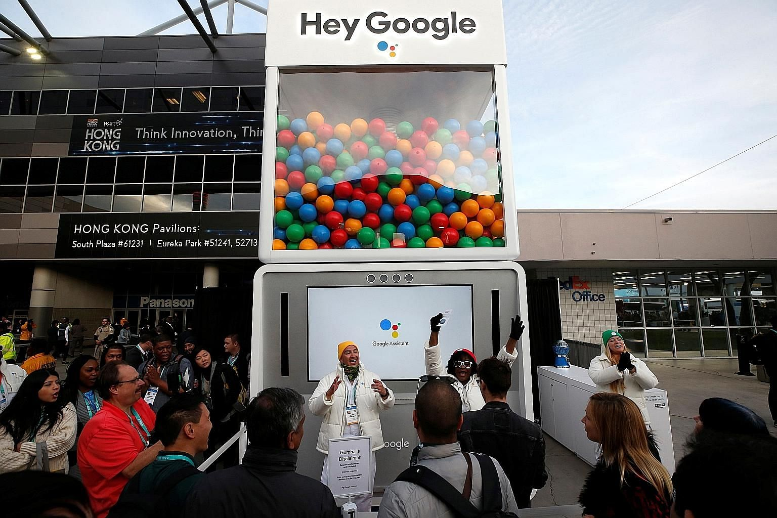 """A Google """"gumball"""" machine during the 2020 CES in Las Vegas earlier this month. Shares in its parent company, Alphabet, closed at US$1,450.16 on Thursday, valuing the tech titan at above US$1 trillion for the first time."""