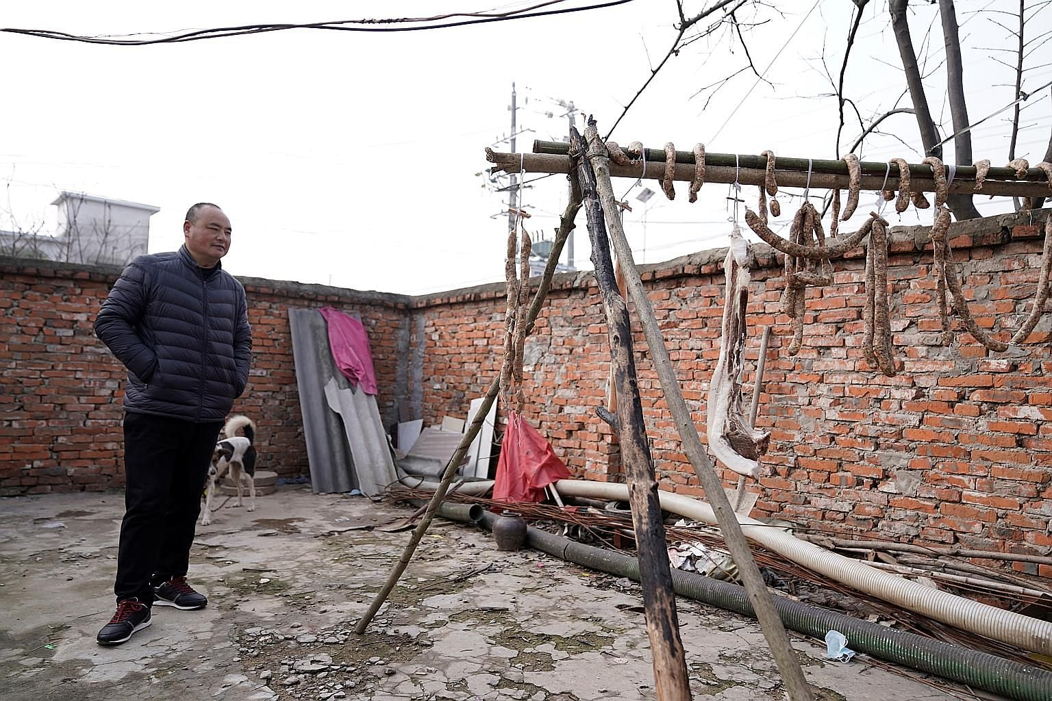 Chinese villager Xu's husband in their yard, where la rou and homemade sausages are strung up. African swine fever has decimated pig herds in China, with pork prices tripling from a year ago due to the shortage.