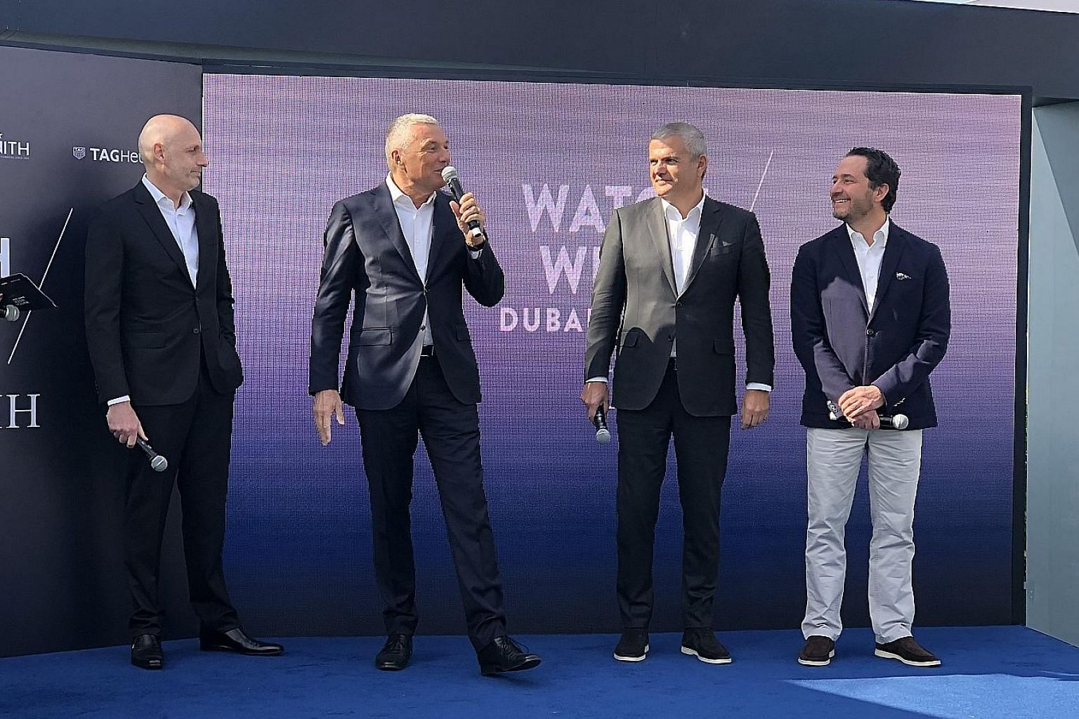(From left) Mr Stephane Bianchi, head of LVMH watchmaking and chief executive officer of Tag Heuer; Mr Jean-Christophe Babin, CEO of Bvlgari; Mr Ricardo Guadalupe, CEO of Hublot; and Mr Julien Tornare, CEO of Zenith, launched LVMH Watch Week on Monda