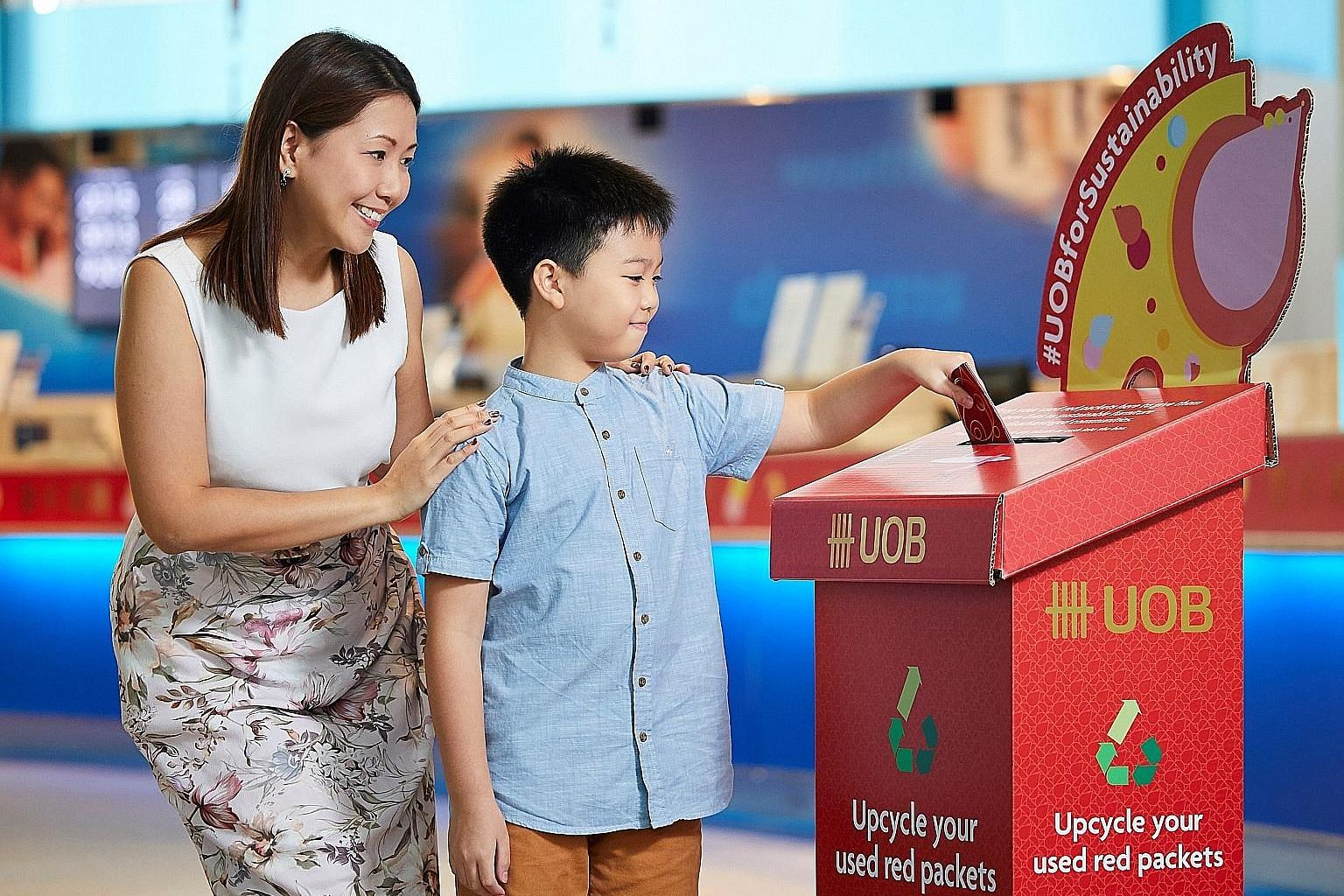 Customers are encouraged to drop their used red packets into recycling boxes from Jan 20 at designated UOB branches.
