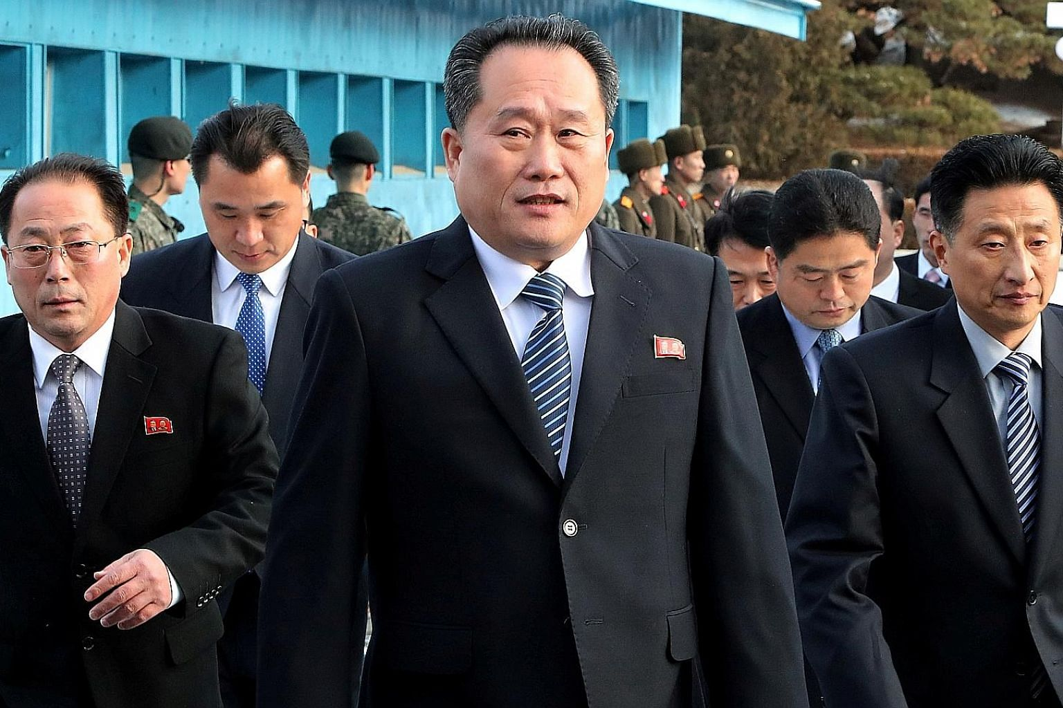 Mr Ri Son Gwon leading a delegation to attend a meeting at the truce village of Panmunjom in the demilitarised zone separating the two Koreas on Jan 9, 2018. Mr Ri was former chairman of the Committee for the Peaceful Reunification of the Fatherland.