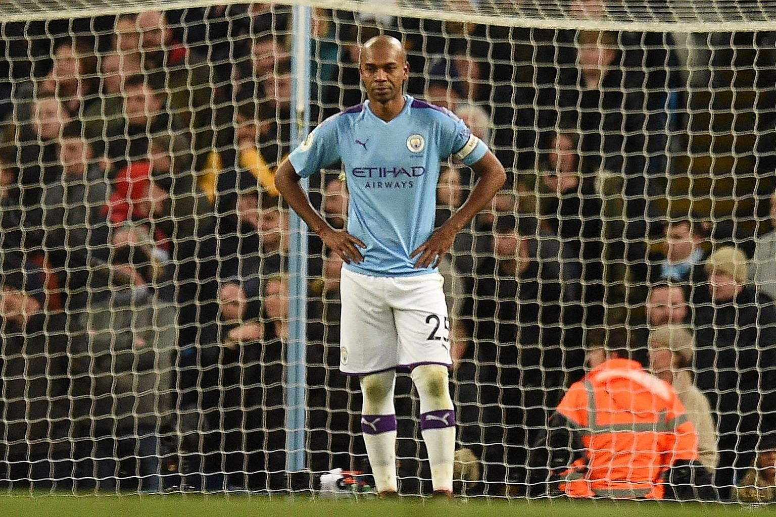 Manchester City's Fernandinho is stunned after his own goal in added time of their 2-2 draw with Crystal Palace at the Etihad Stadium on Saturday.