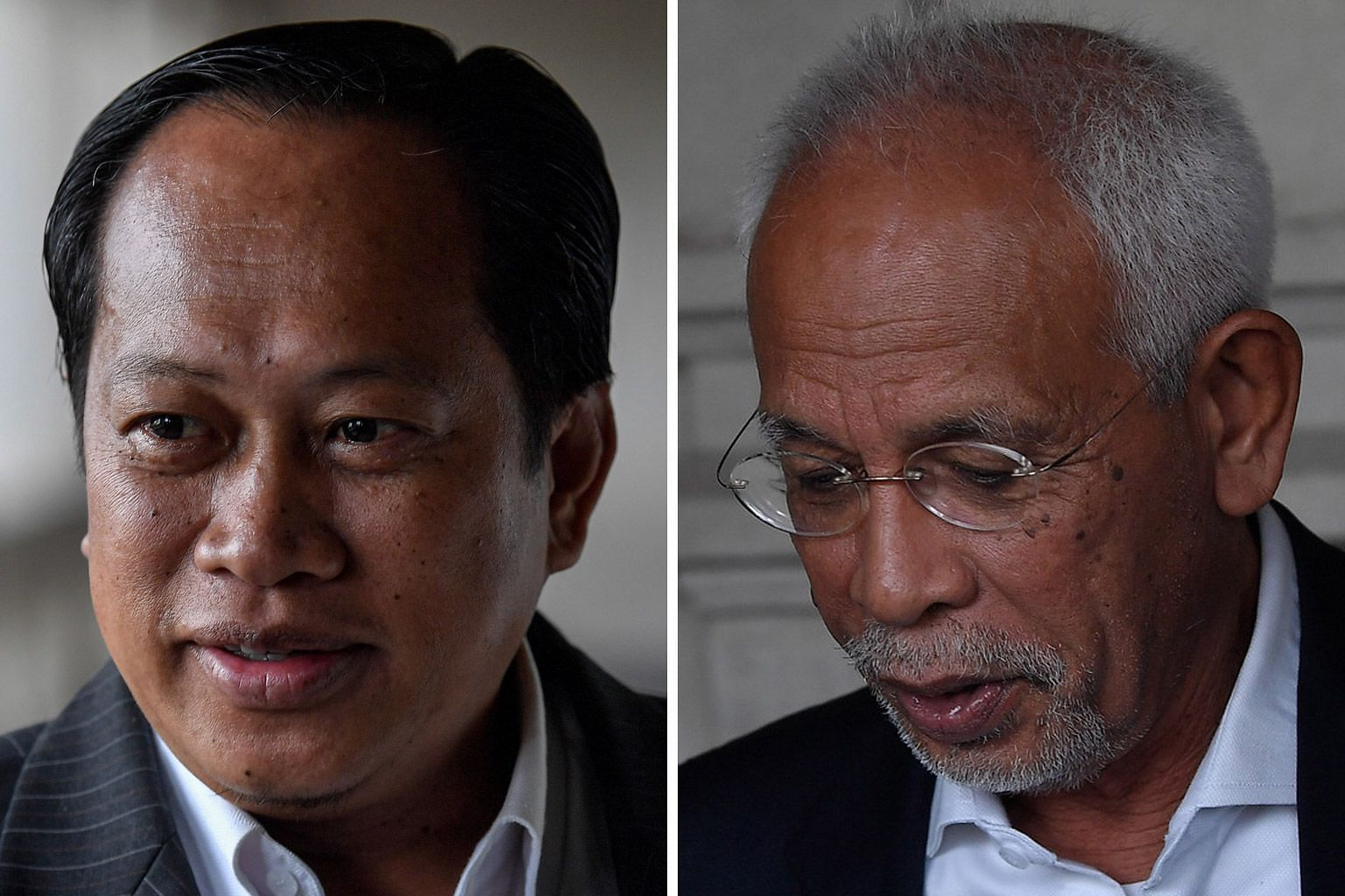 Pontian MP Ahmad Maslan (left) and Johor Baru Umno division chief Shahrir Samad both pleaded not guilty when the charges were read out to them yesterday.