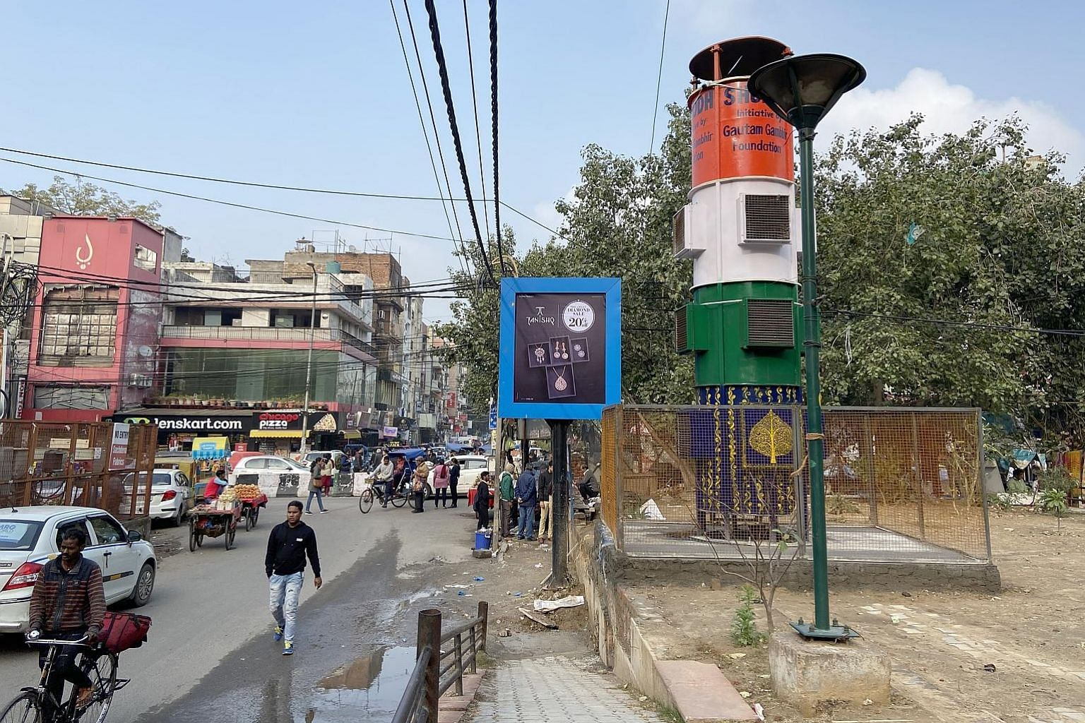 A smog tower in South Delhi's Lajpat Nagar market began operating last week, even though its efficacy has yet to be proven.