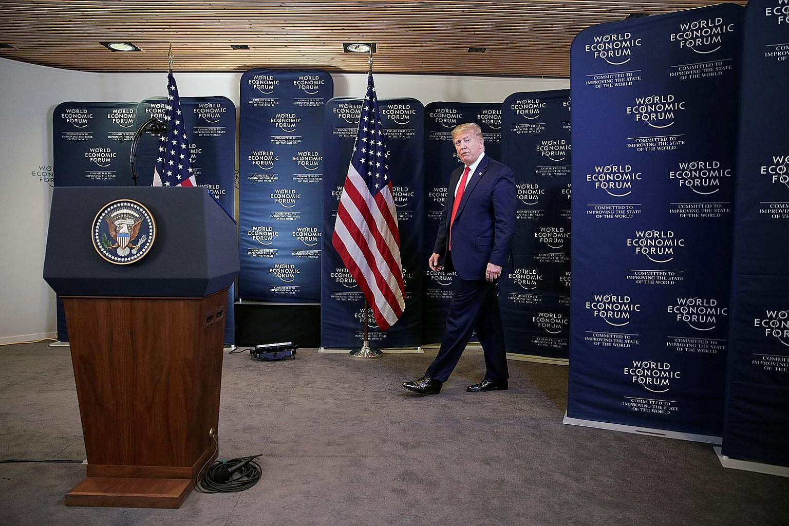US President Donald Trump arriving at a news conference at the 50th World Economic Forum in Davos, Switzerland, yesterday. On Tuesday night, Democrats and Republicans in the US Senate wrangled long and hard over whether documents and witnesses should