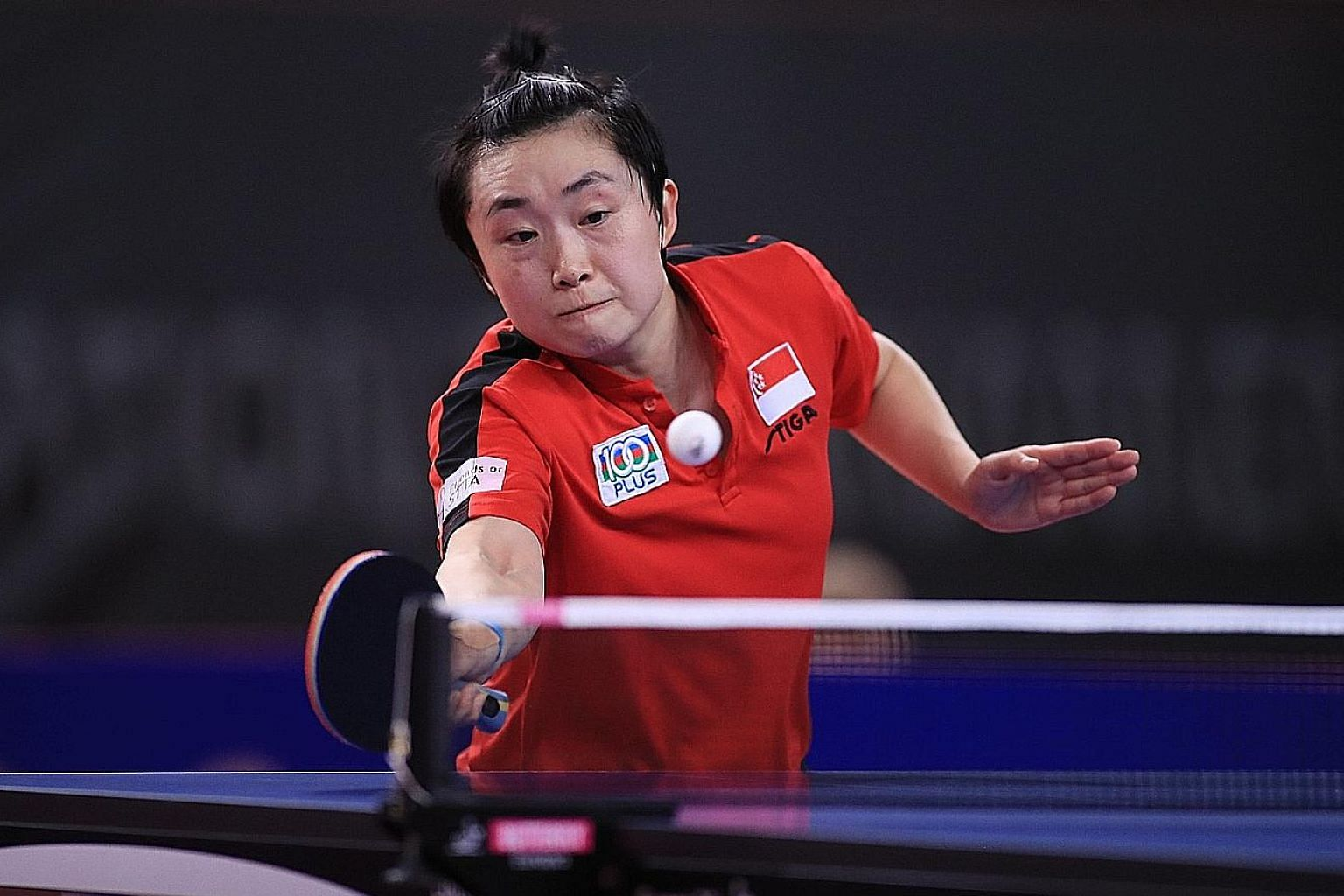 Feng Tianwei in Singapore's 3-1 win over Luxembourg in the last 32 at the Gondomar qualifiers. The team won Olympic silver in 2008 and bronze in 2012. PHOTO: INTERNATIONAL TABLE TENNIS FEDERATION