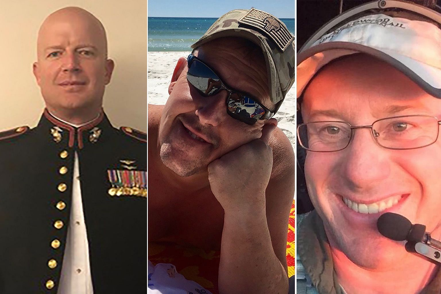 The three US firefighters who died on Thursday were (from top) First Officer Paul Hudson, Flight Engineer Rick DeMorgan Jr, and Captain Ian McBeth. All were former US military members with extensive flight experience.