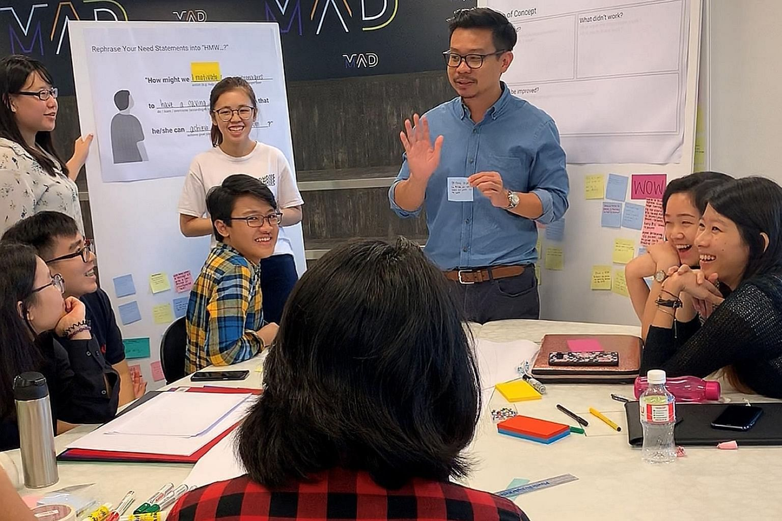 Singapore Polytechnic students in a discussion at a workshop to identify what they wanted from the United Overseas Bank branch on their campus. Operations at the branch started last November.