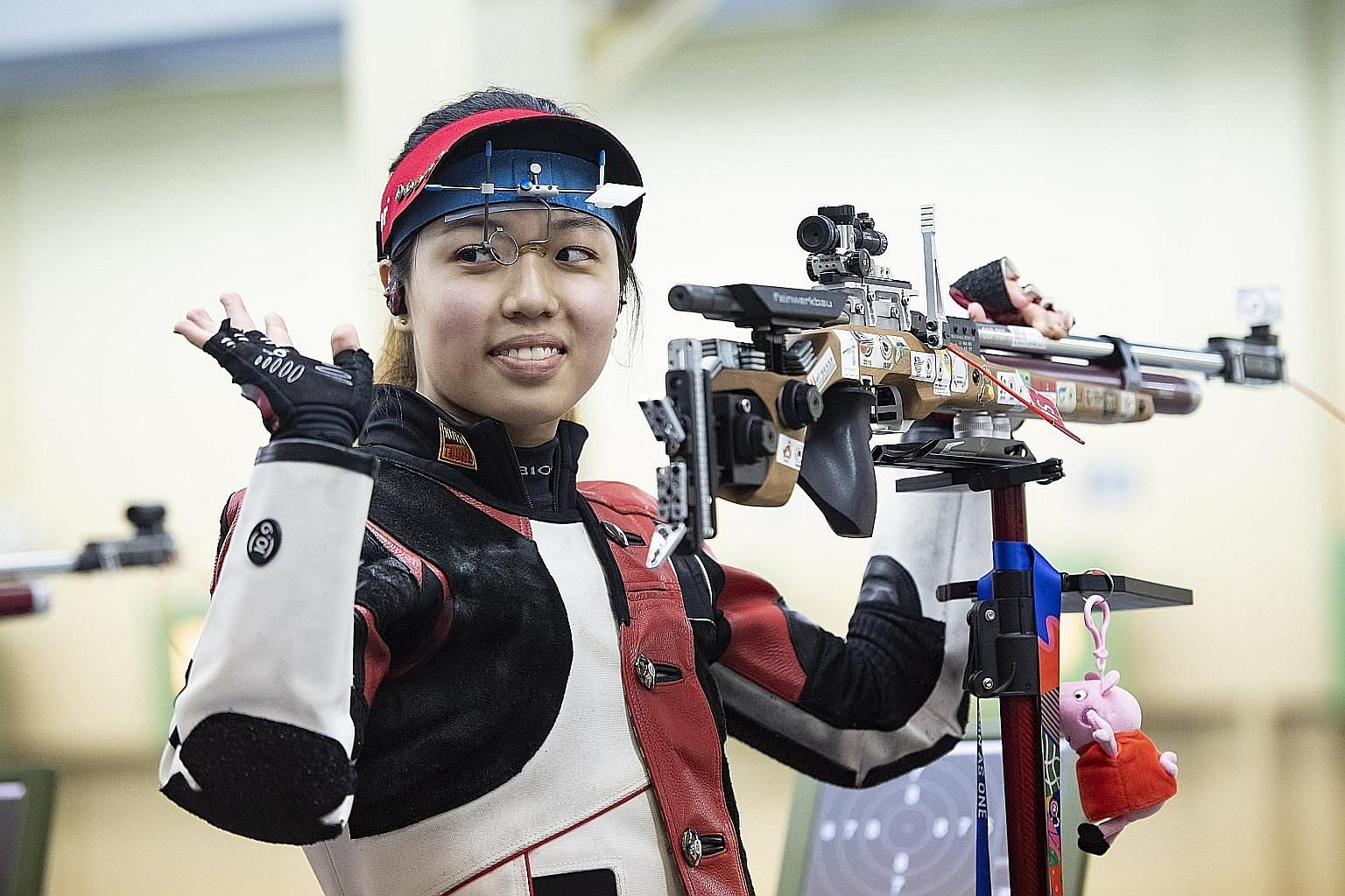 Adele Tan at last month's SEA Games in the Philippines, where she won bronze medals in the women's 10m air rifle and mixed 10m air rifle.