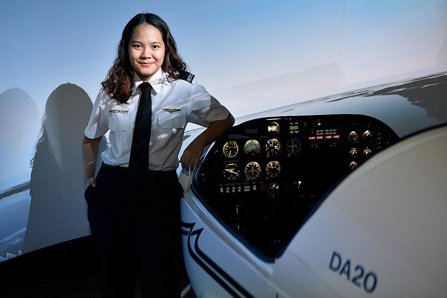 Inspired by a newspaper article about Singapore's first local Malay woman to become a commercial pilot, Haazeqah Nur Atikah Abdullah enrolled in private aviation school Aeroviation and spent three to four hours almost every weekday for a few months l