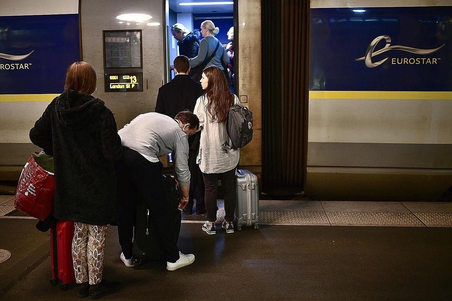 Passengers boarding the final Eurostar train before Brexit at Gare du Nord station in Paris on Friday. The Eurostar trains started running in 1994 and ply between Paris and London through the Channel Tunnel in less than 2½ hours.